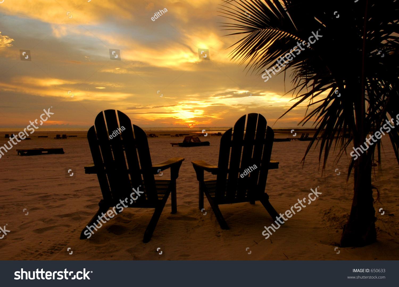 Adirondack Chairs Florida Beach Sunset Stock Photo 650633