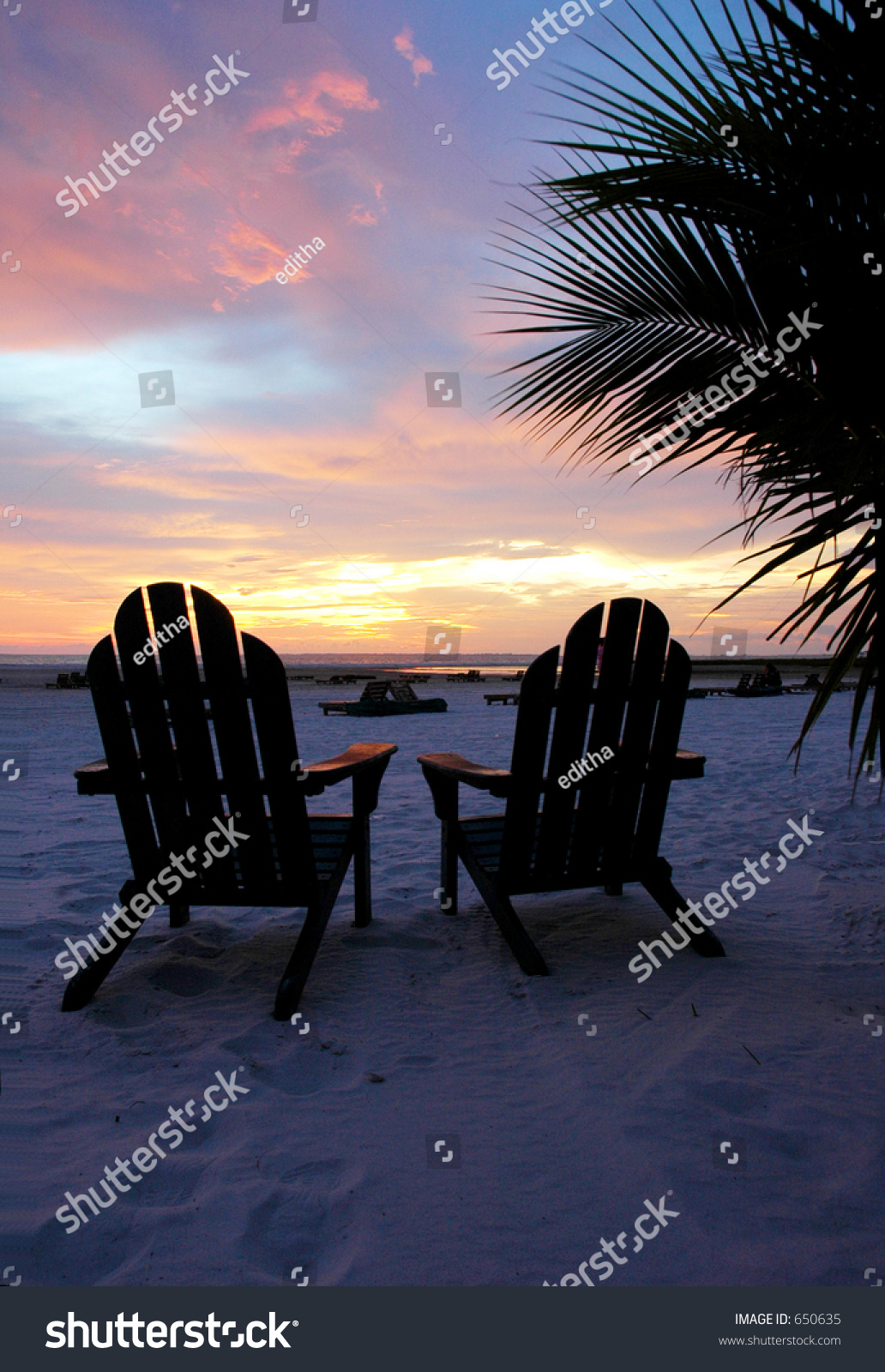 Adirondack Beach Chairs Sunset Vertical Stock Photo 650635