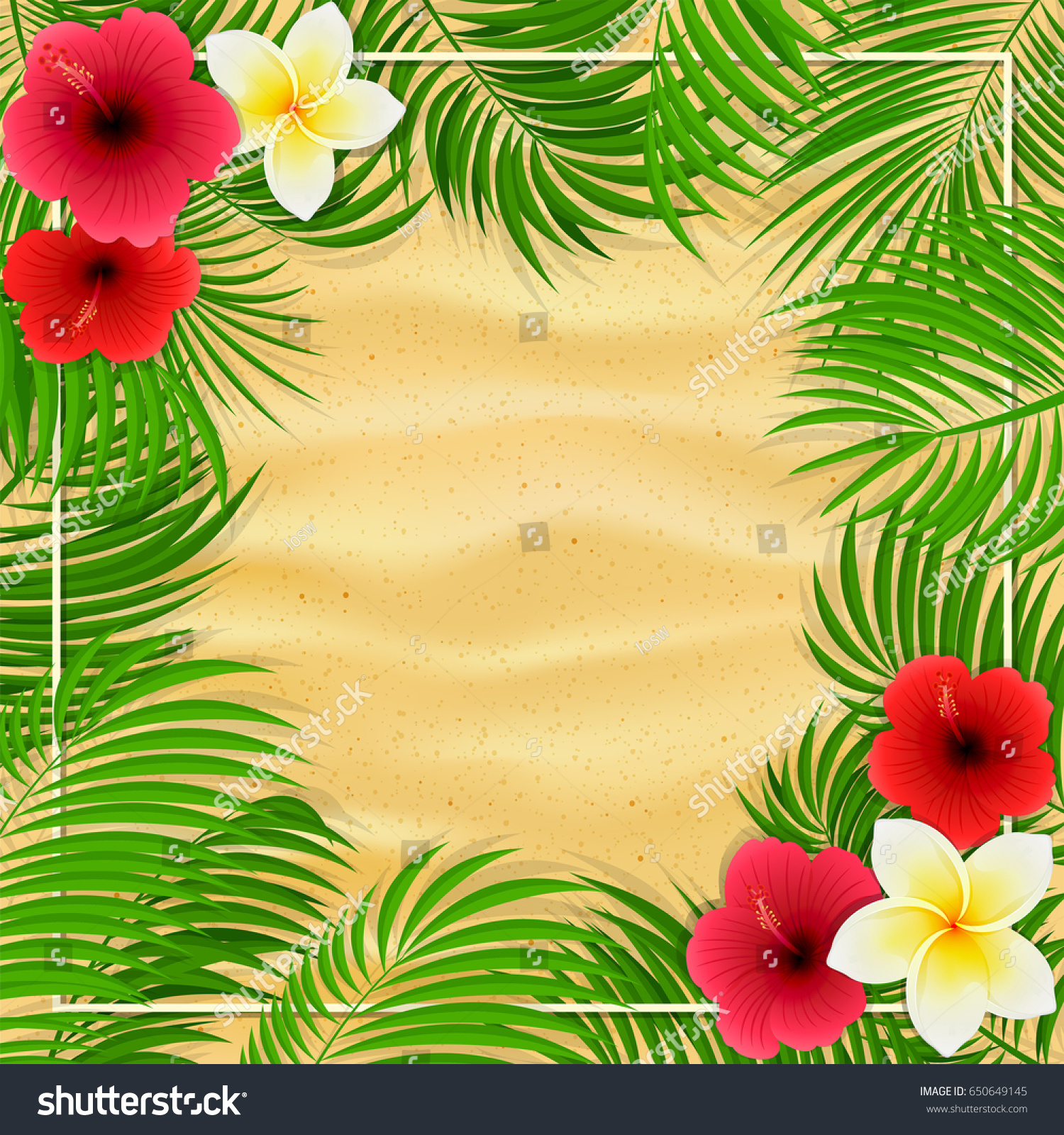 Summer background palms hawaiian flowers frangipani stock vector summer background with palms and hawaiian flowers frangipani hibiscus and palm leaves on sandy izmirmasajfo