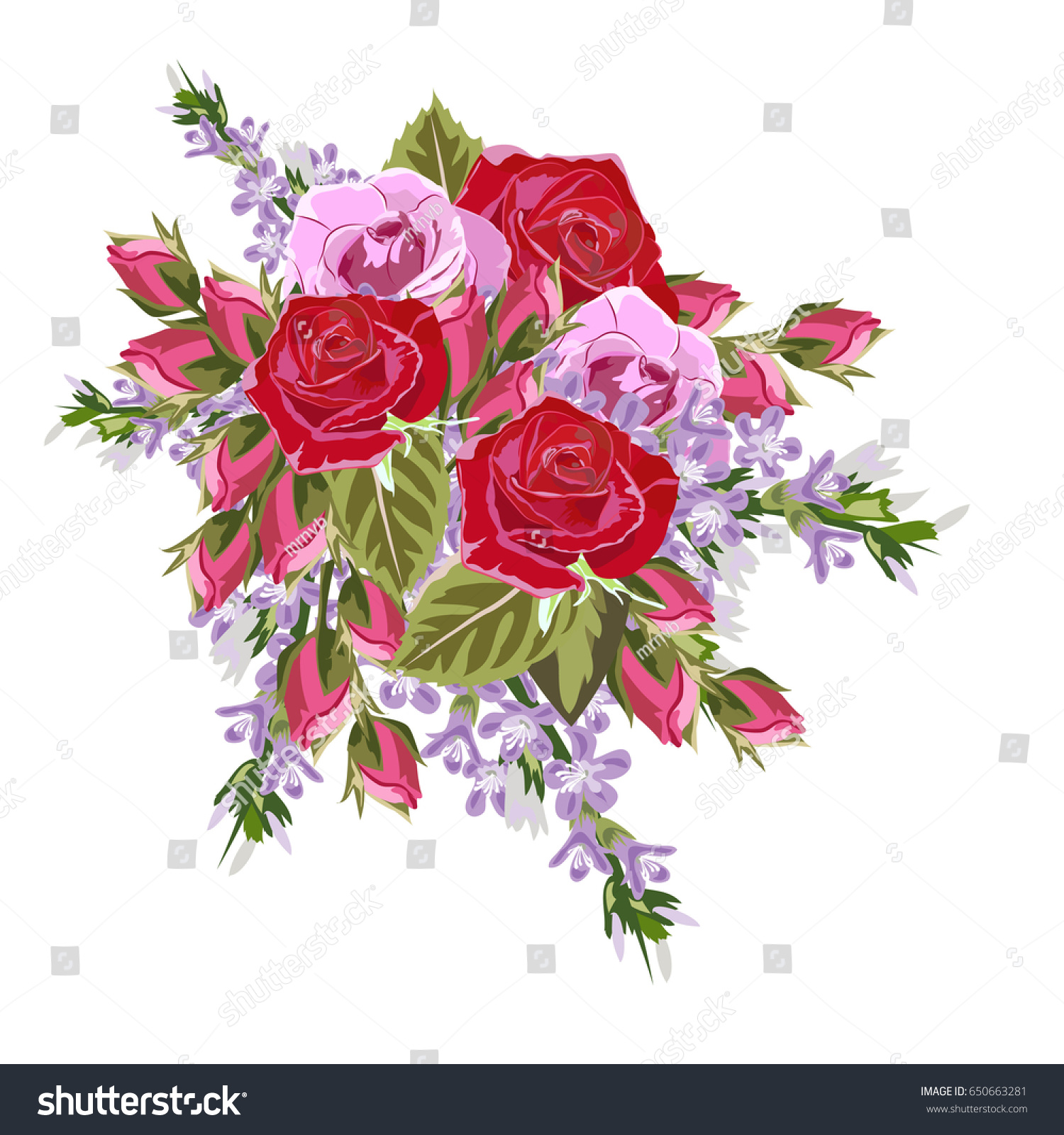 Bouquet of red and pink roses. Decor elements for greeting cards ...