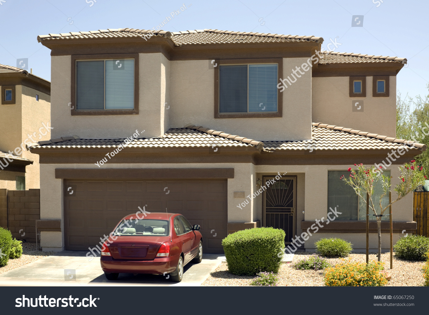 Modern Twostory Single Family House Garage Stock Photo