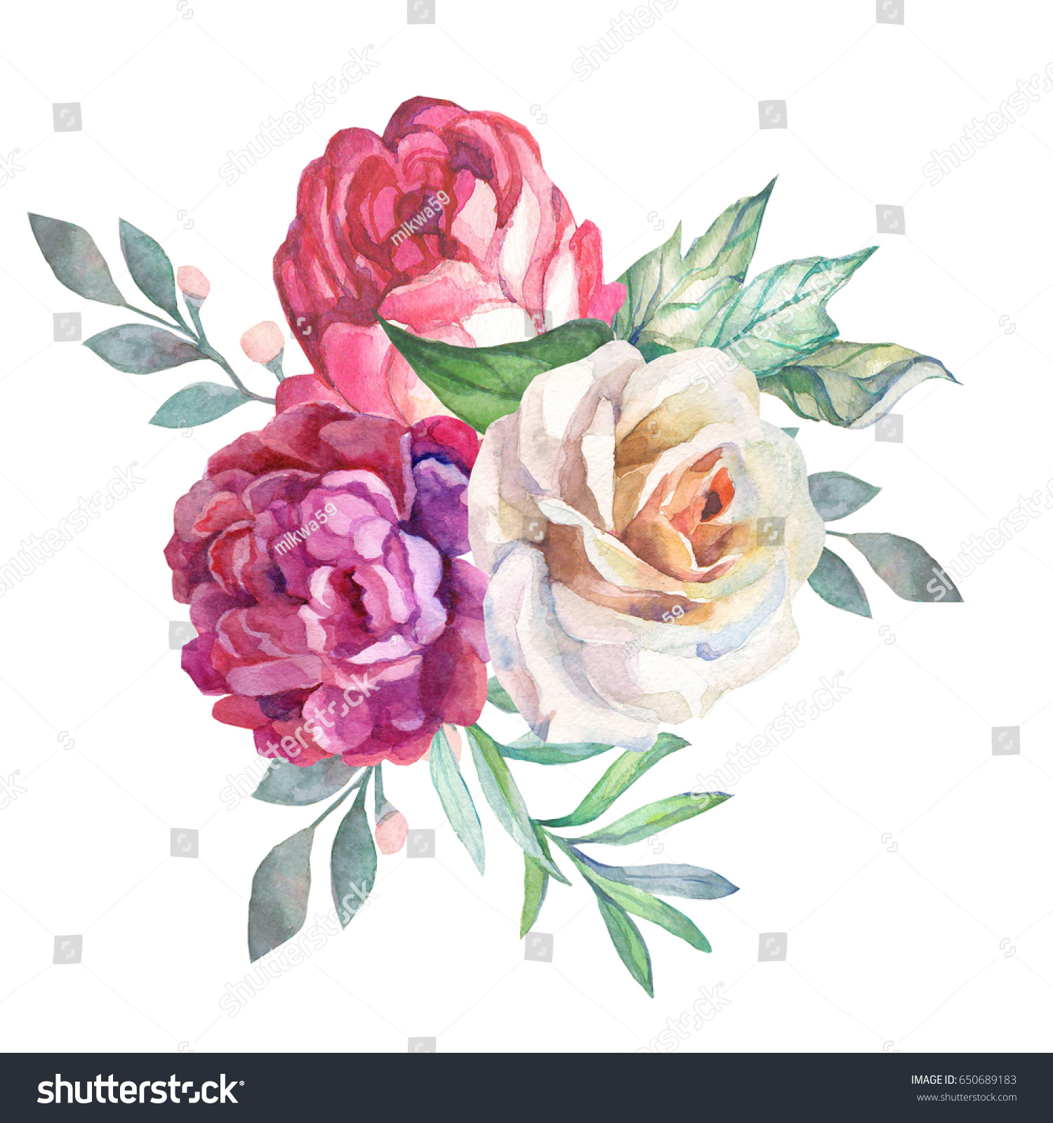 Watercolor Flowers Bouquet White Rose Stock Illustration 650689183 ...