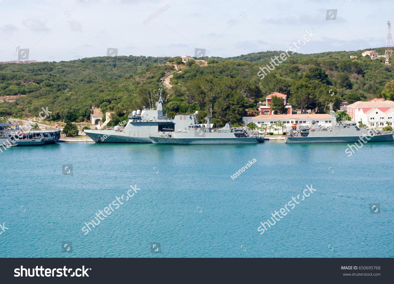 view naval base harbour mahon capital stock photo edit now