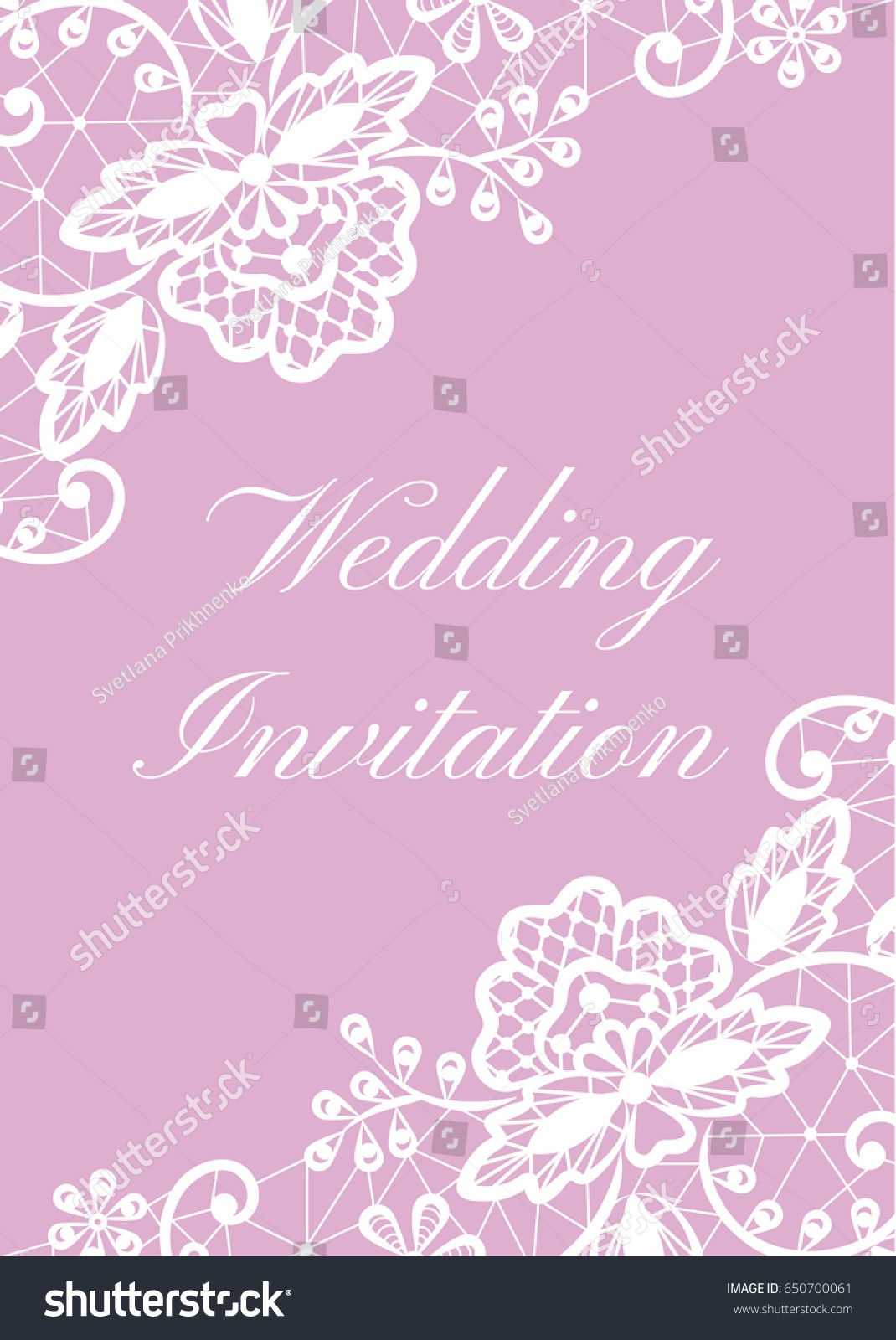 Wedding Card With White Lace Border On Pink Background