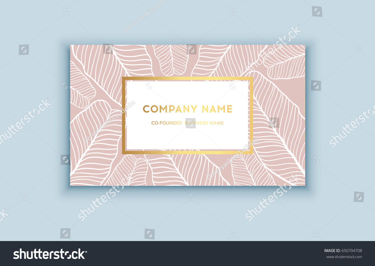 Vector Tropical Pink Gold Business Card Stock Vector 650704708 ...