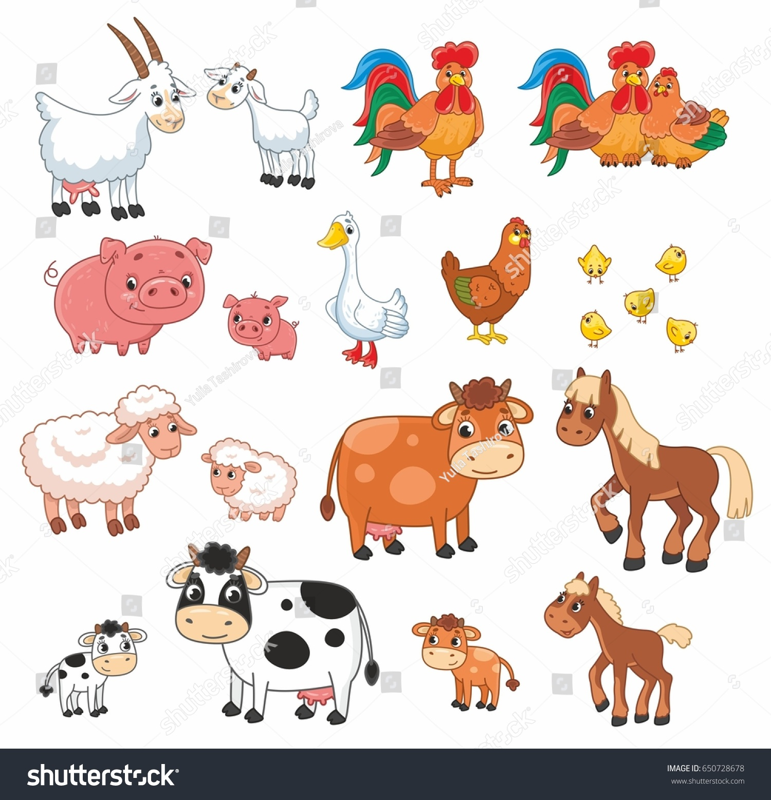 Cartoon Vector Set Farm Animals Vector Stock Vector Royalty Free 650728678