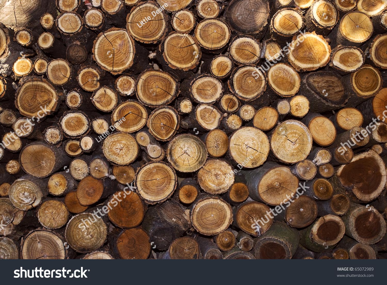 Cut Wood Logs ~ Pile cut wood stump log texture stock photo