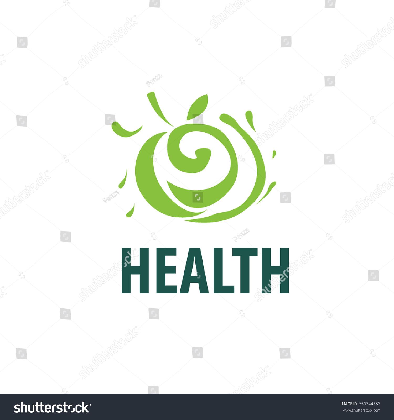 vector green apple logo isolated creative stock vector
