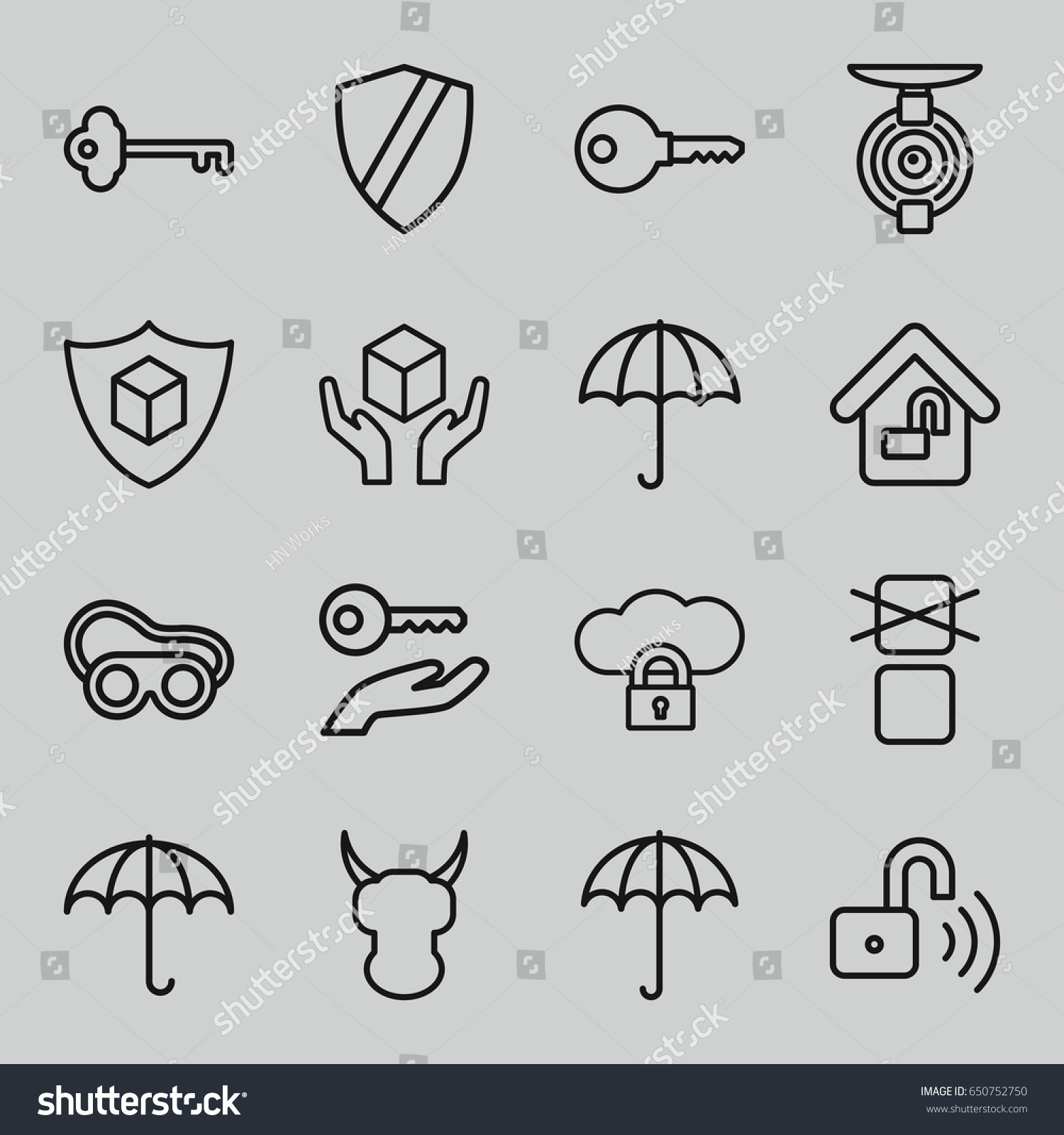 Set 16 protect outline icons such stock vector 650752750 set of 16 protect outline icons such as umbrella welding glasses handle with care buycottarizona