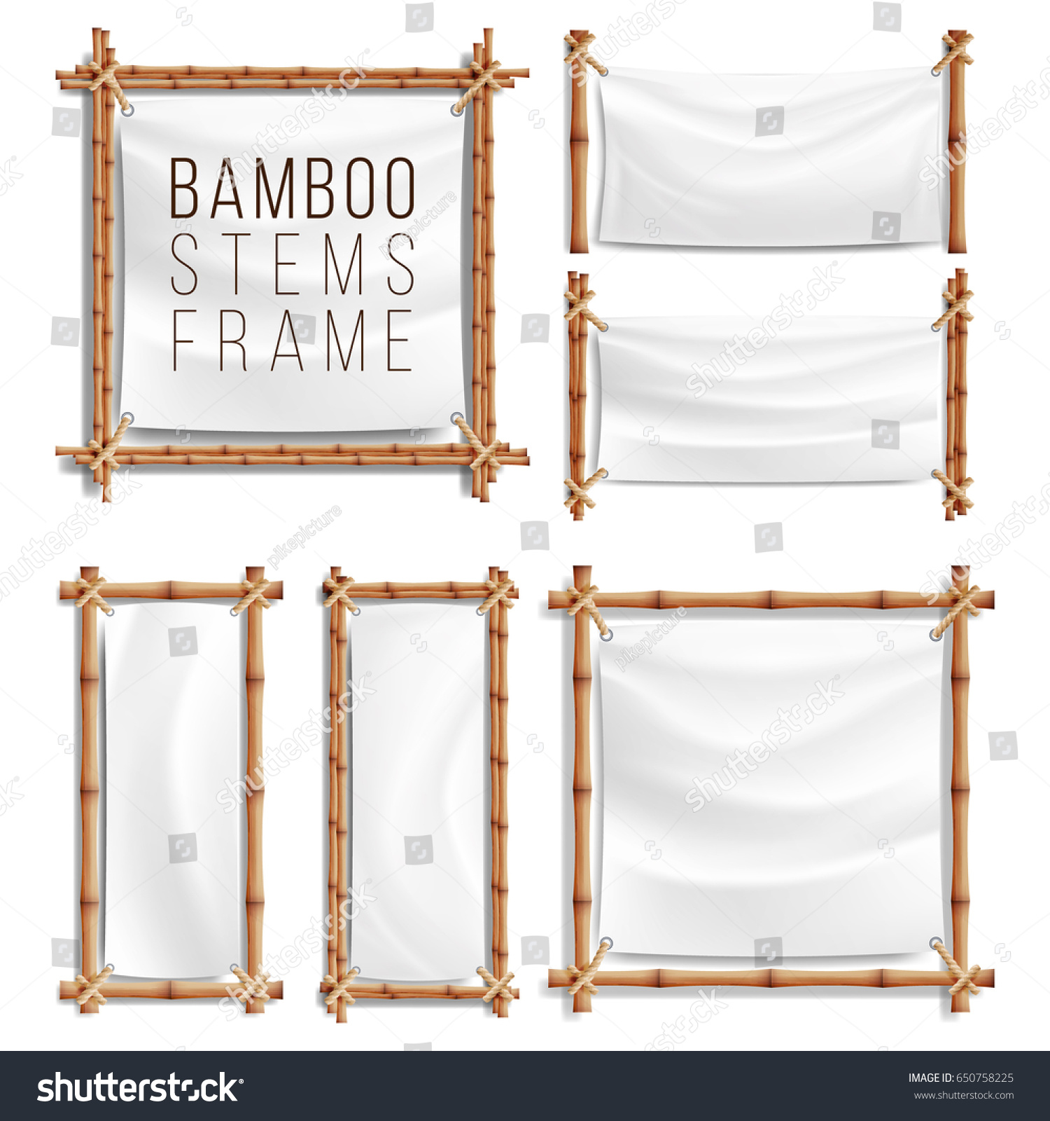 Wood frames set free vector - Bamboo Frame Set Vector With Canvas Wooden Frame Of Bamboo Sticks Swathed In Rope
