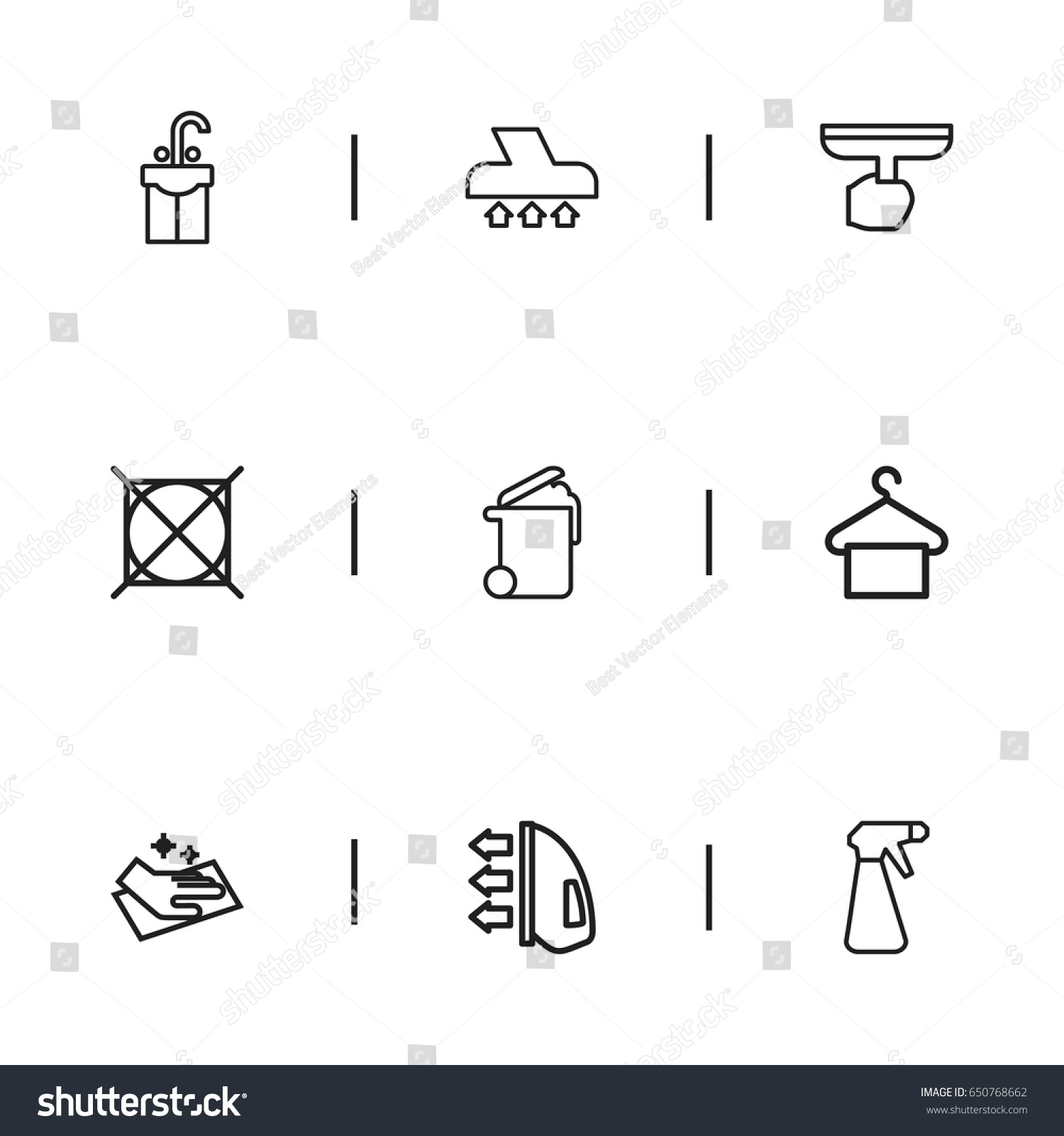 Set 9 editable drycleaning icons includes stock vector 650768662 set of 9 editable dry cleaning icons includes symbols such as spray attention buycottarizona Choice Image