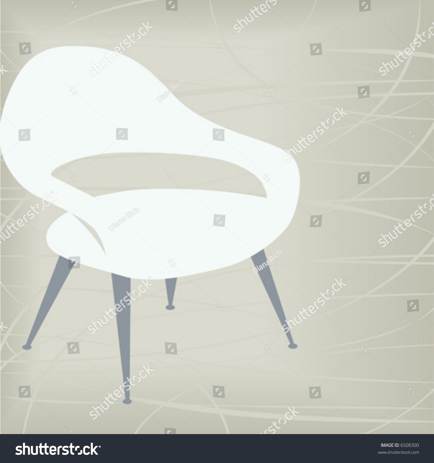 Stylish Vintage/retro Chair Design Element; Easy Edit Layered File Makes  Changing The
