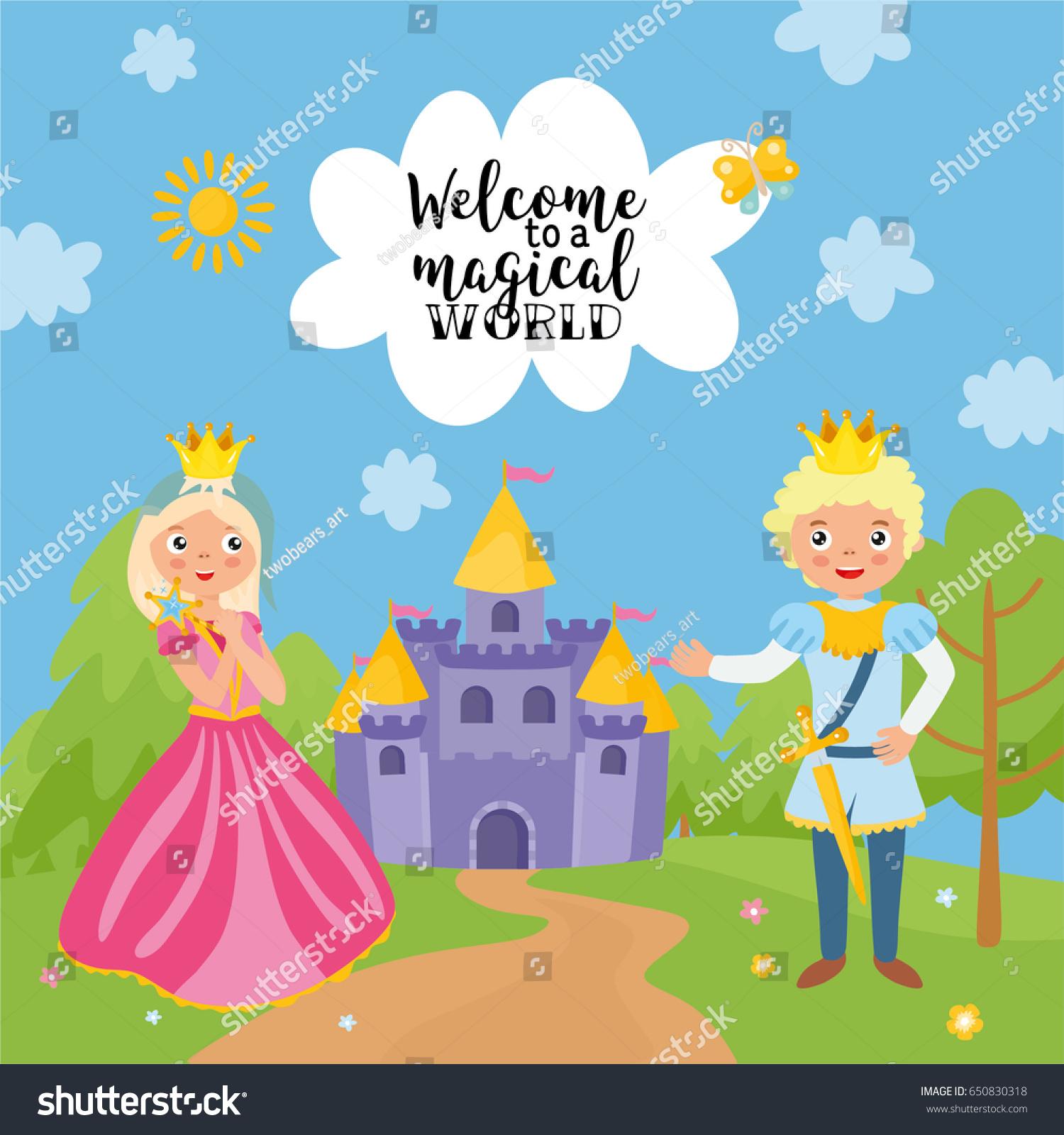 Welcome magical world greeting card magic stock vector 650830318 welcome to a magical world greeting card magic illustration with prince and princess kristyandbryce Choice Image