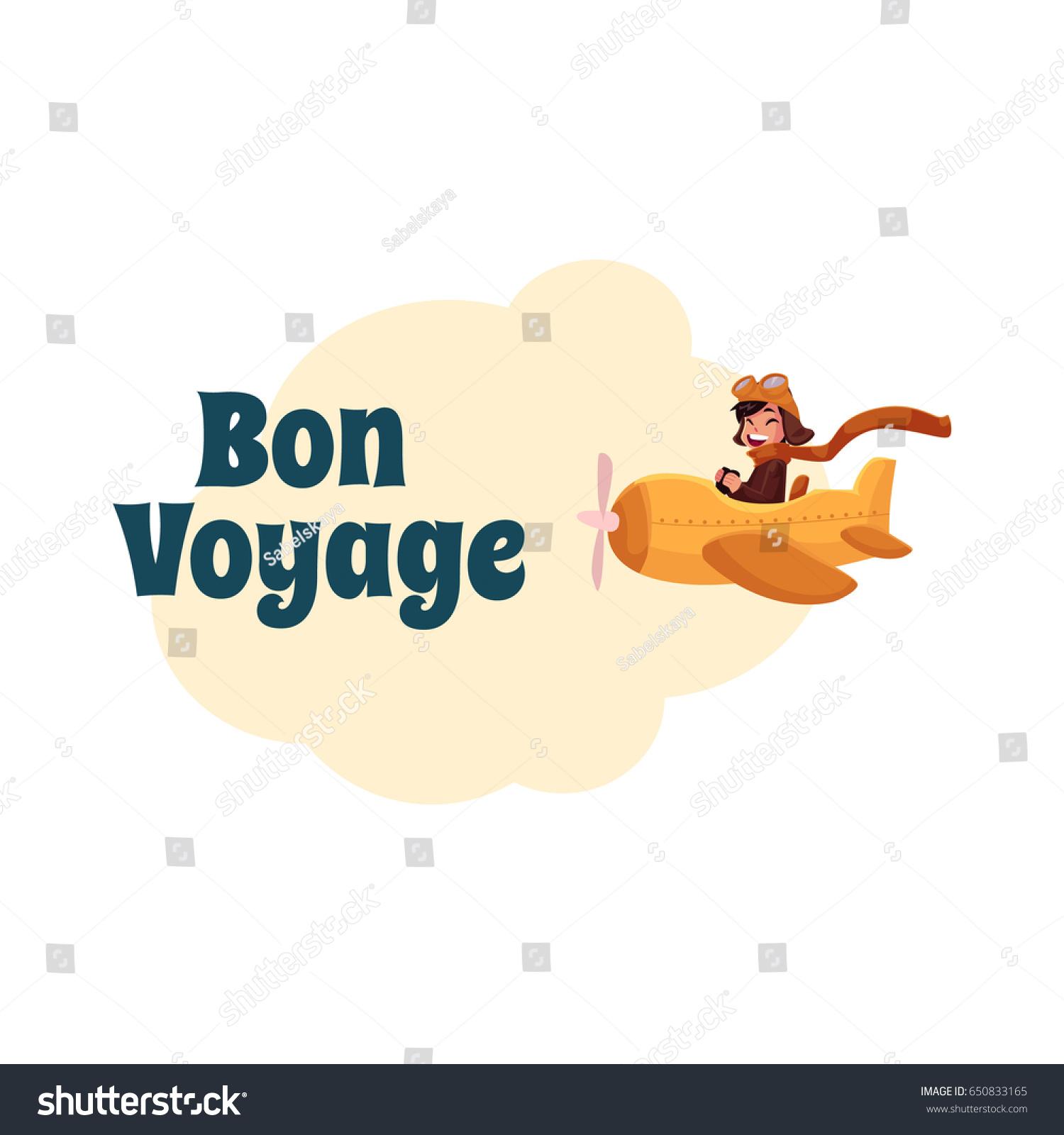 bon voyage postcard banner poster design stock vector royalty free