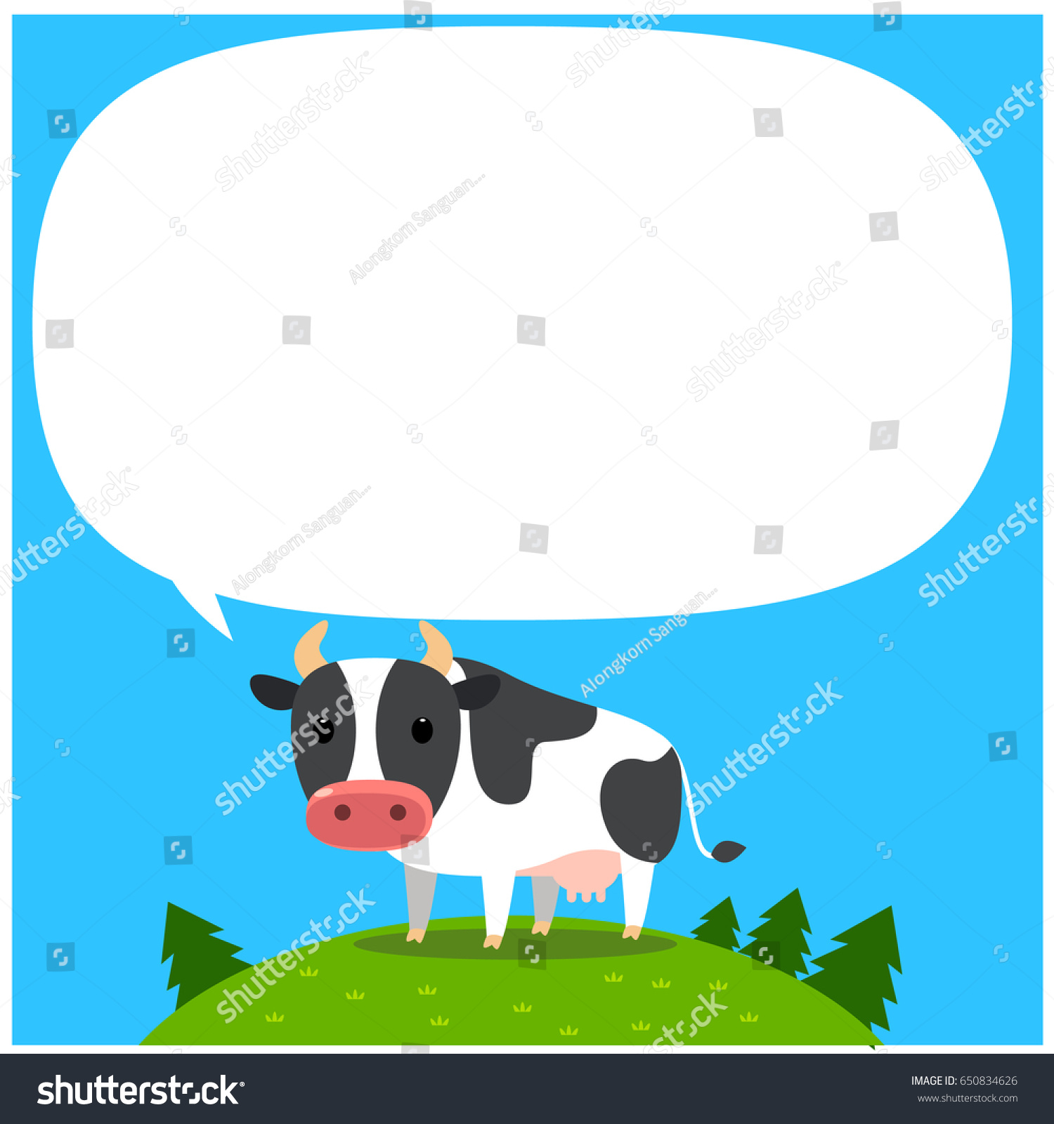 Vector cow character standing on hill stock vector 650834626 vector cow character standing on the hill with blank empty message board buycottarizona