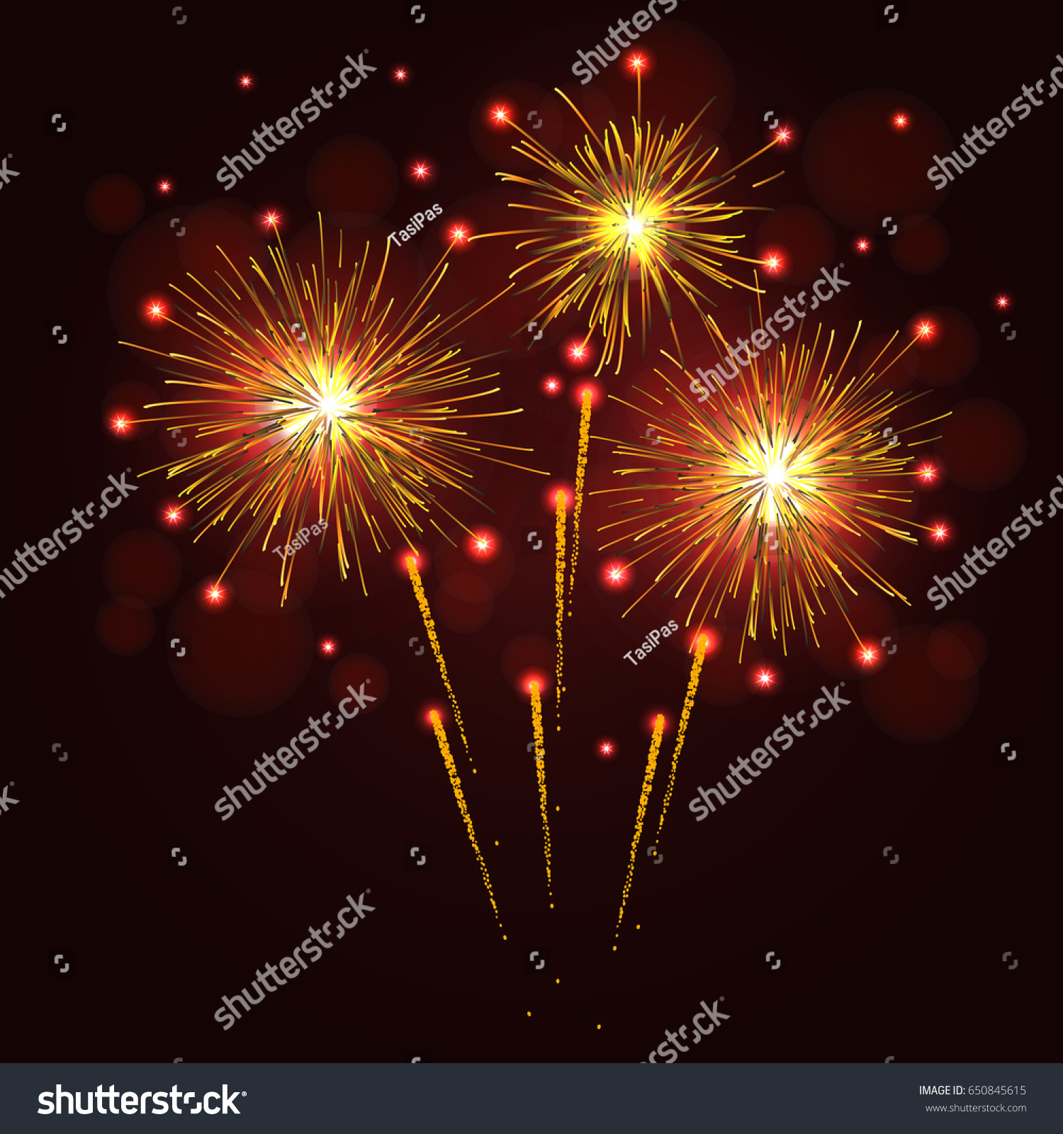 Golden Yellow Sparkling Vector Fireworks Over Stock Vector (Royalty ...