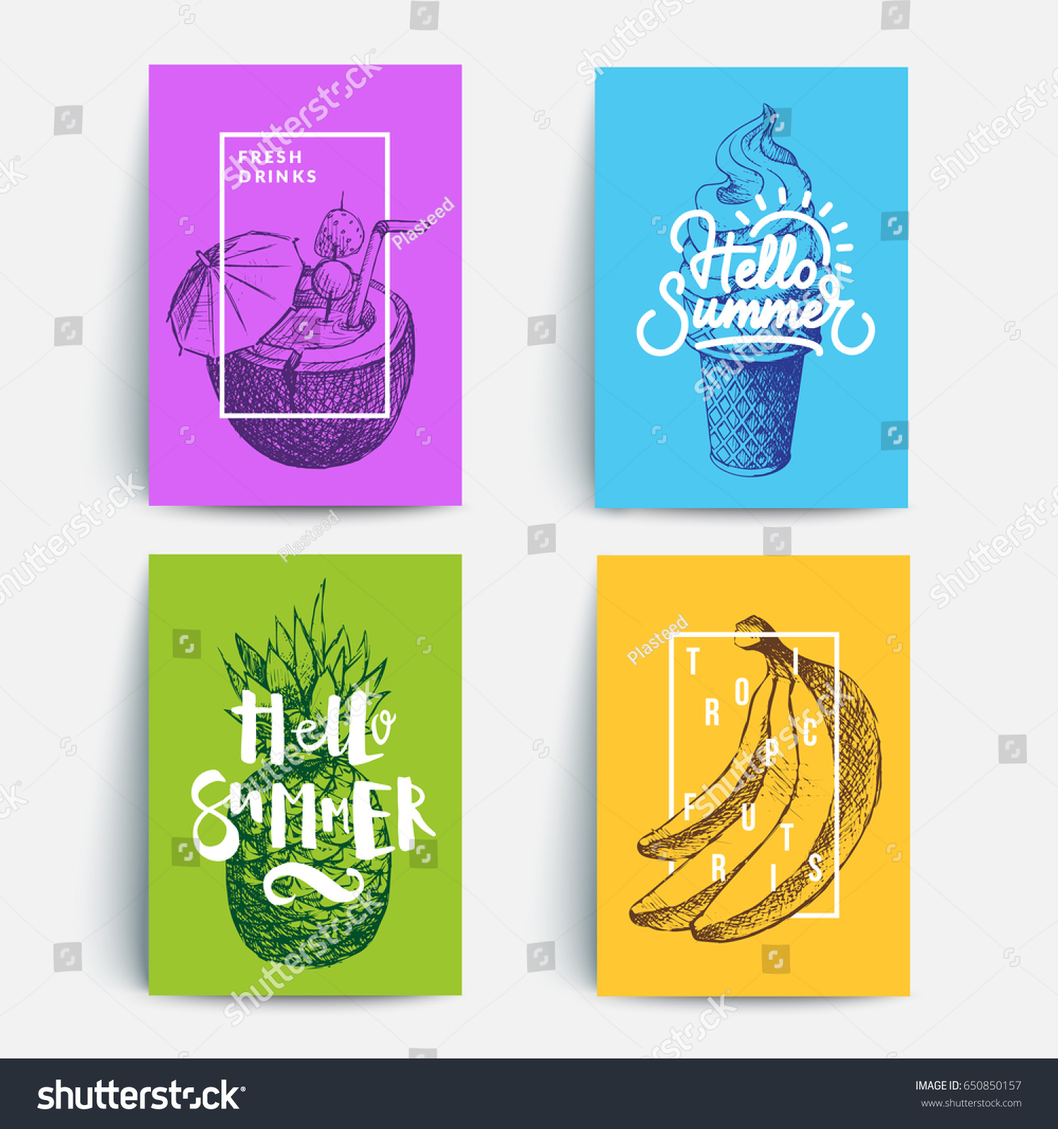 modern colorful summer posters sketches typography のベクター画像