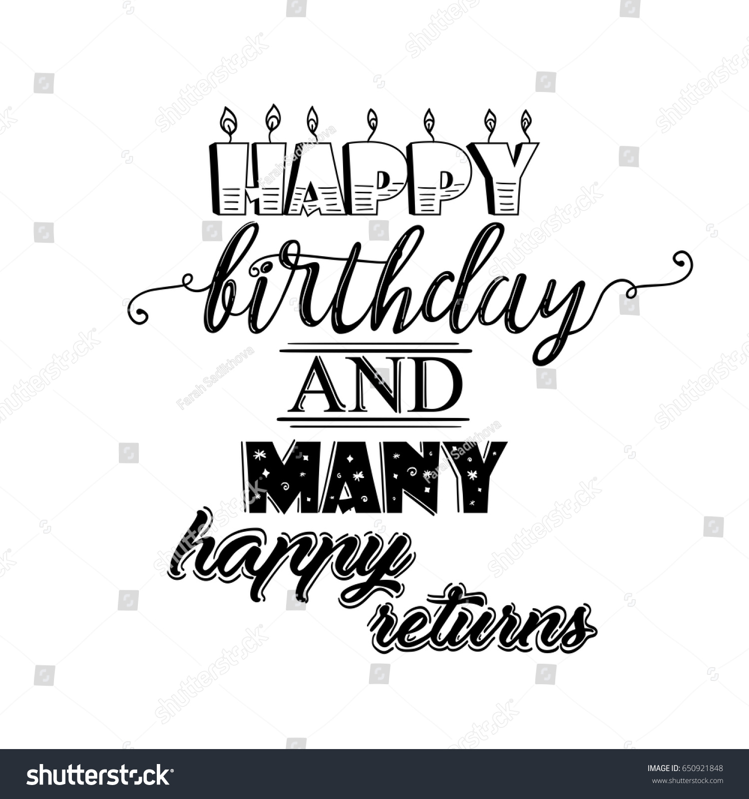 Happy Birthday Many More Happy Returns Stock Vector