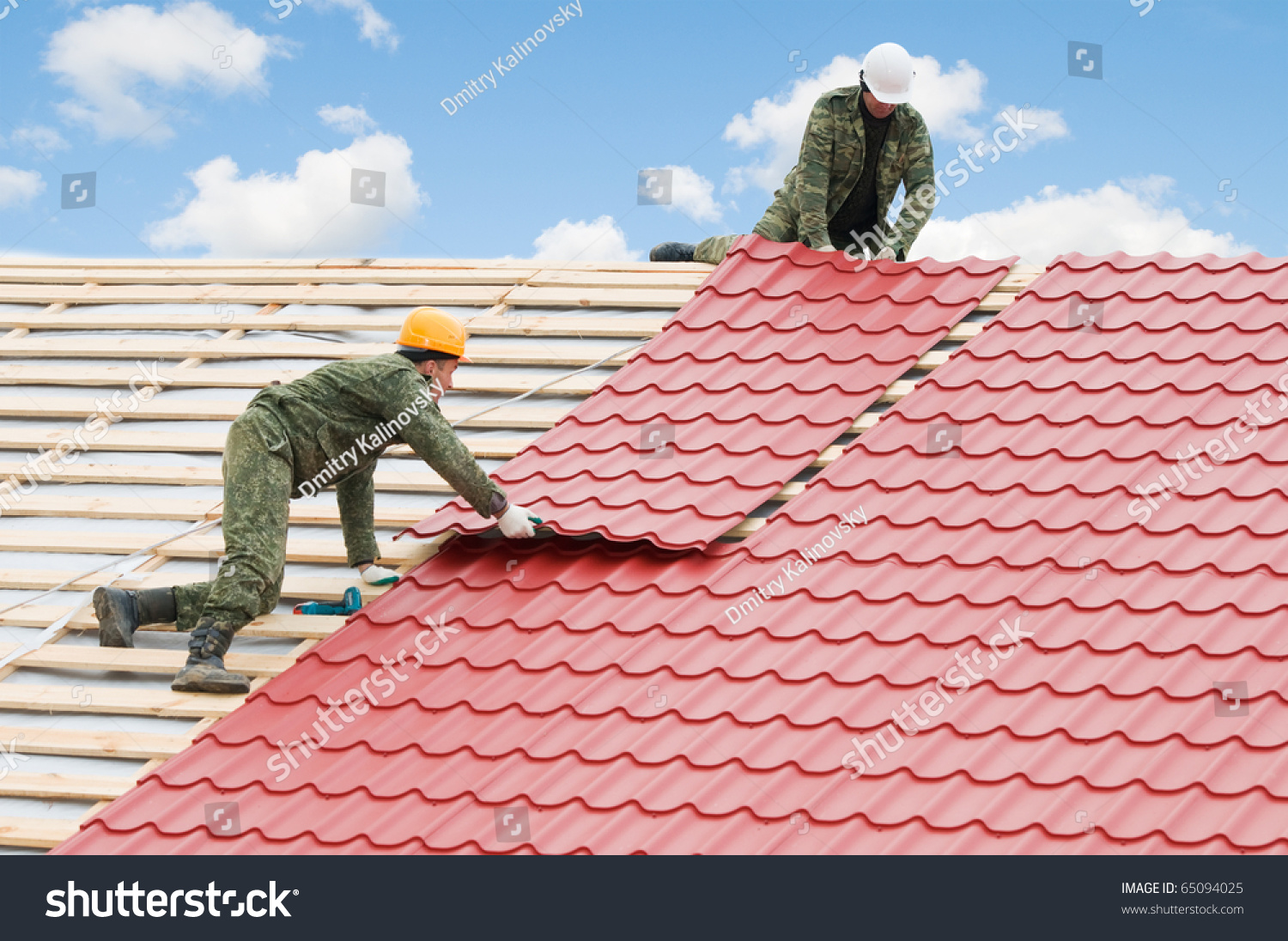 Two Workers On Roof Works Metal Stock Photo 65094025