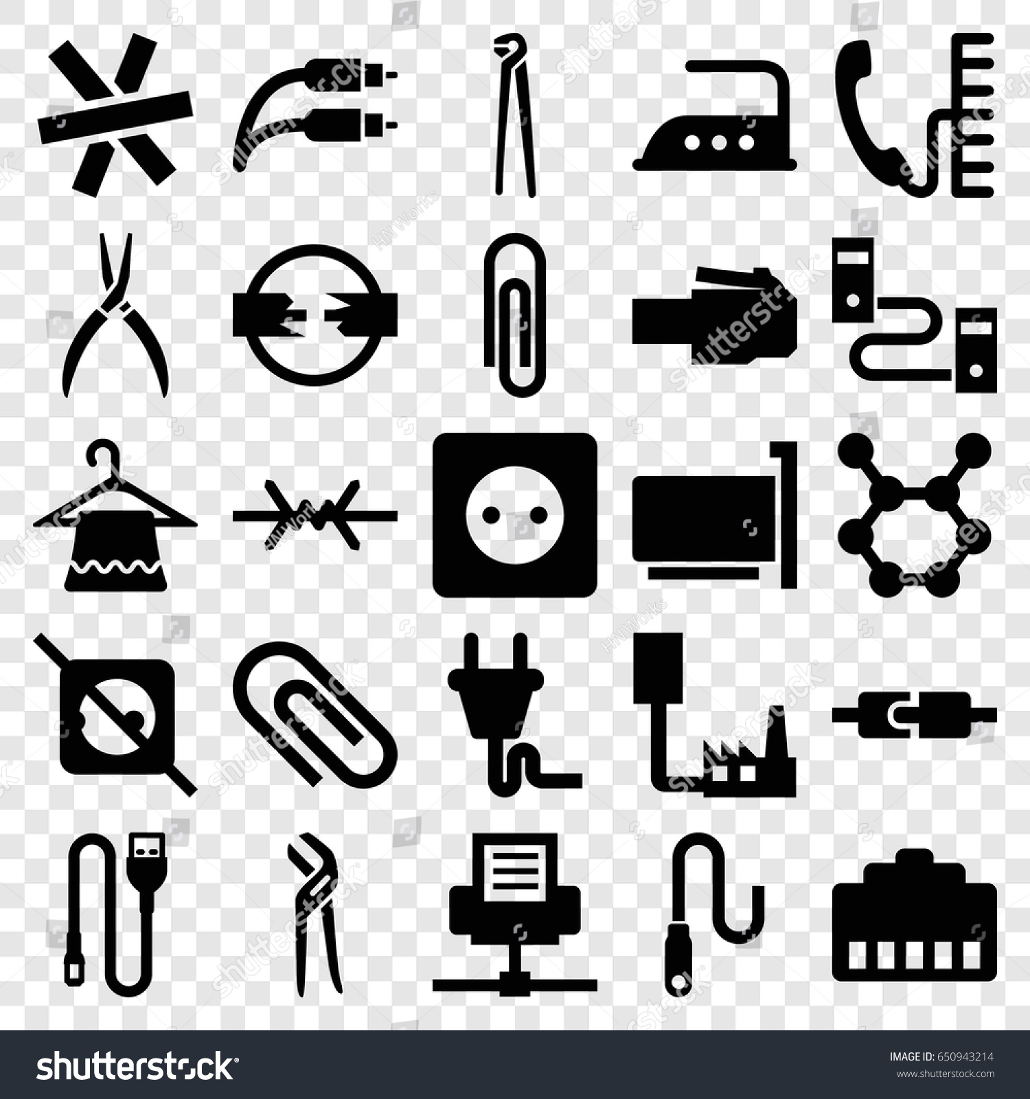 stock vector wire icons set set of wire filled icons such as plug socket hanger iron pliers plug phone 650943214 k laser cube zoom hand piece wiring diagram,laser \u2022 indy500 co Simple Electrical Wiring Diagrams at cos-gaming.co