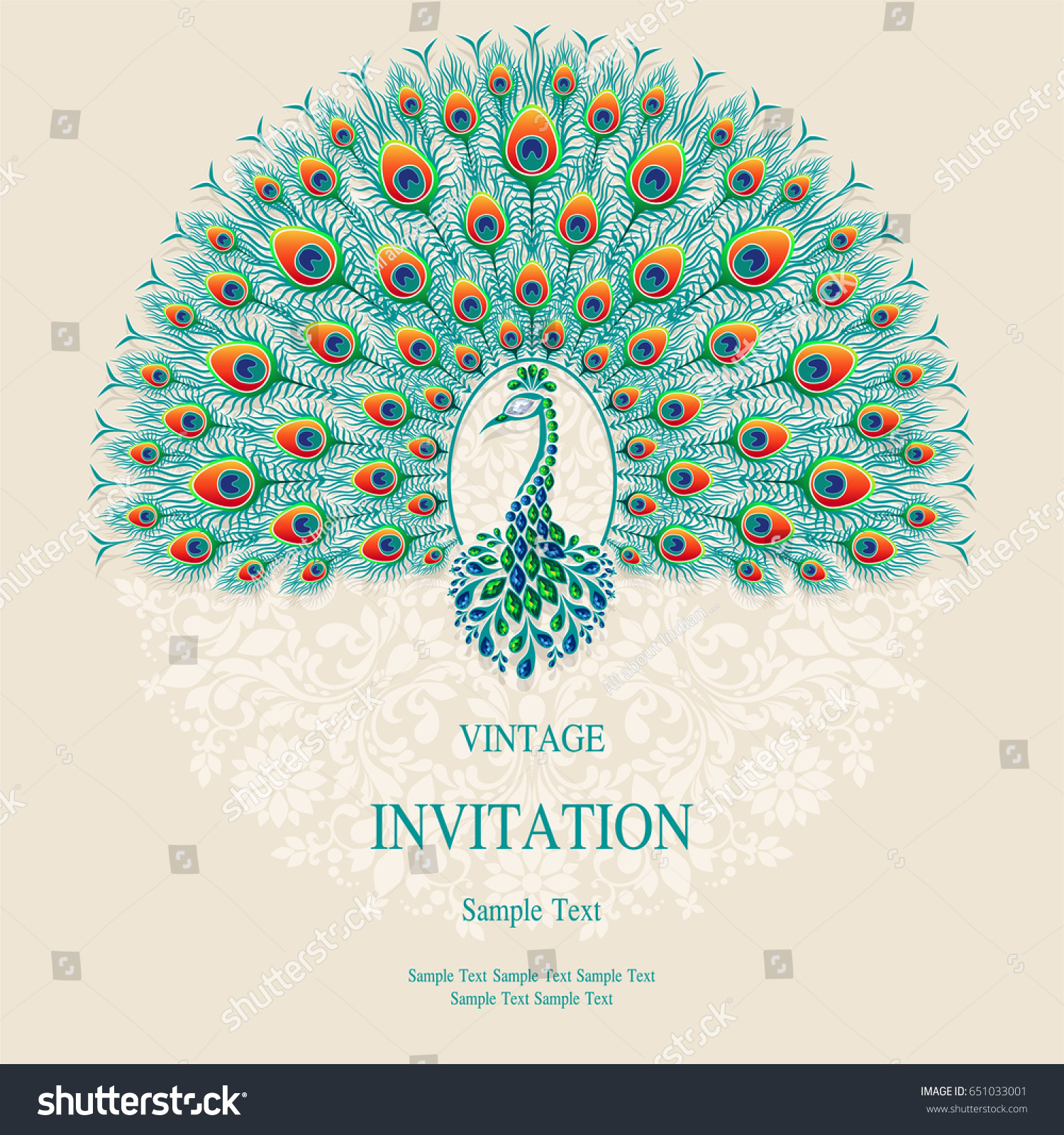 invitation card templates peacock patterned crystals stock vector
