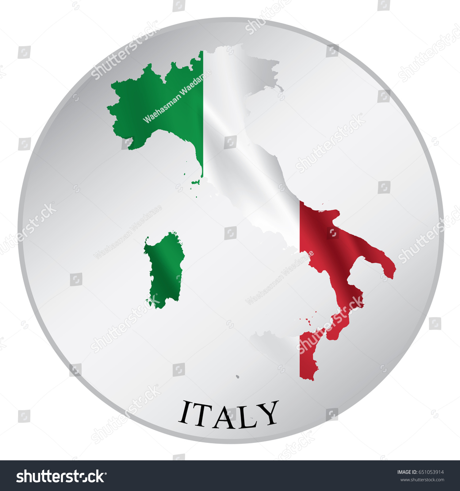 Italy Vector Sticker Flag Map Label Stock Vector 651053914