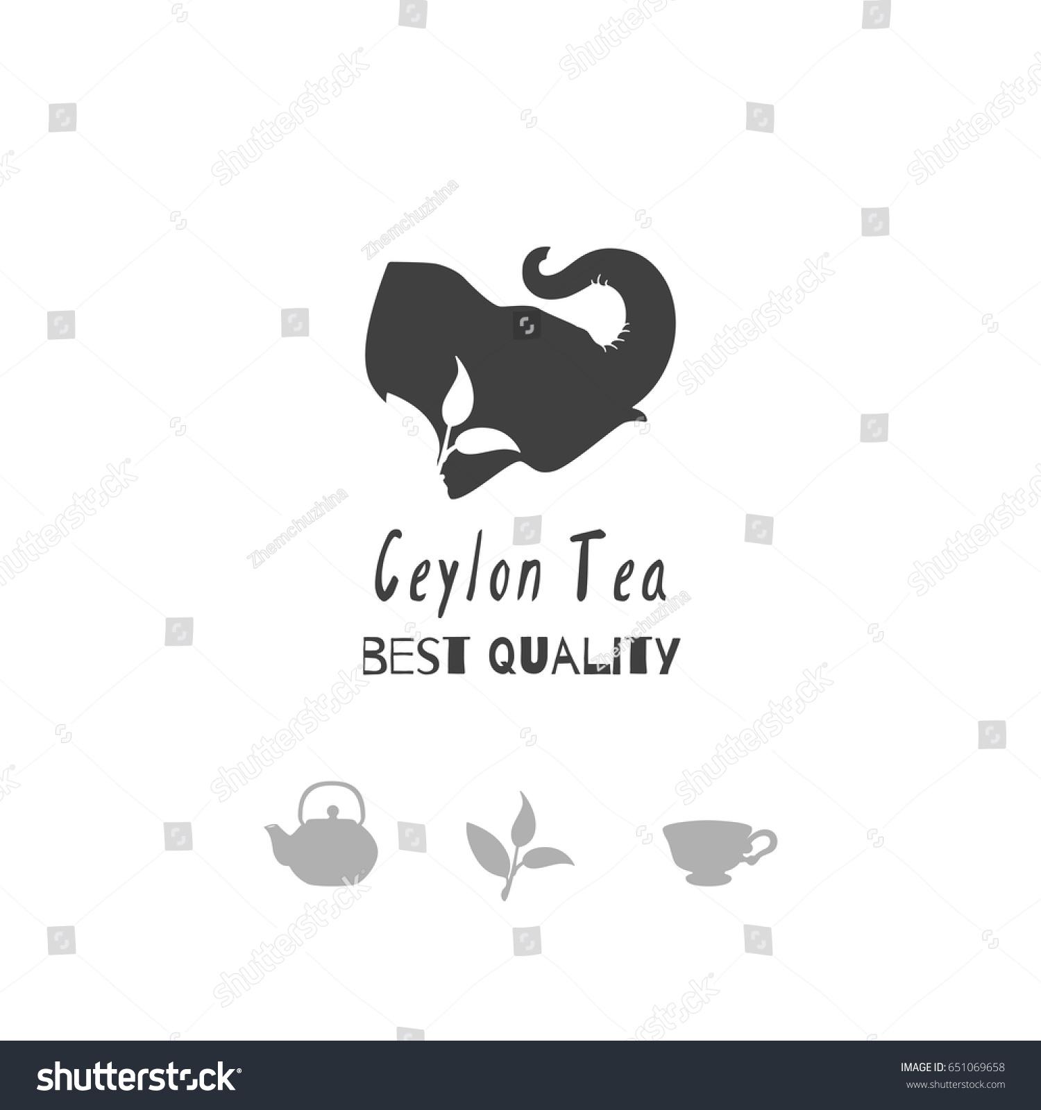 Set Hand Drawn Silhouettes Elephant Teapot Stock Vector 651069658 ...