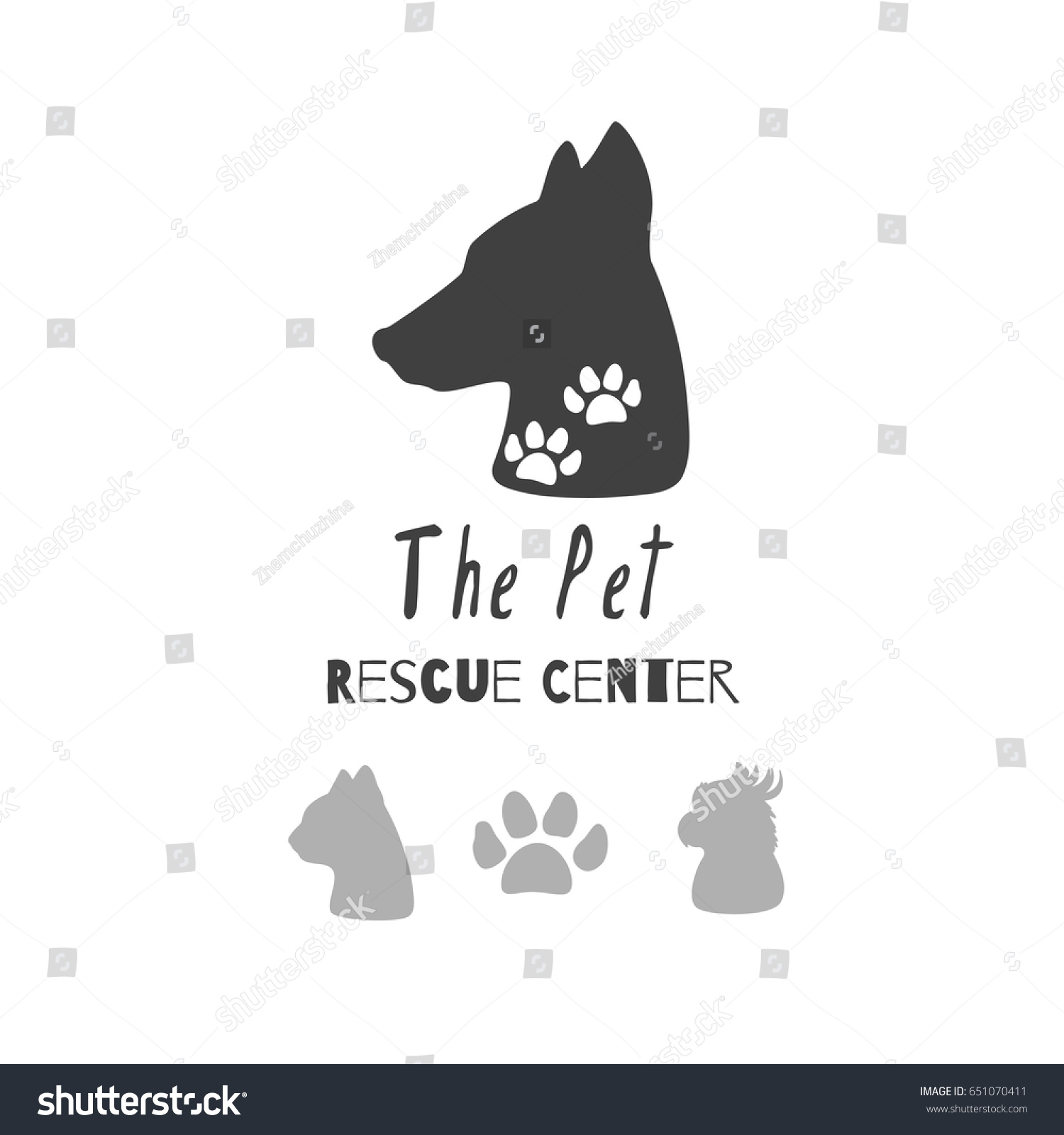 set hand drawn silhouettes heads dog stock vector 651070411