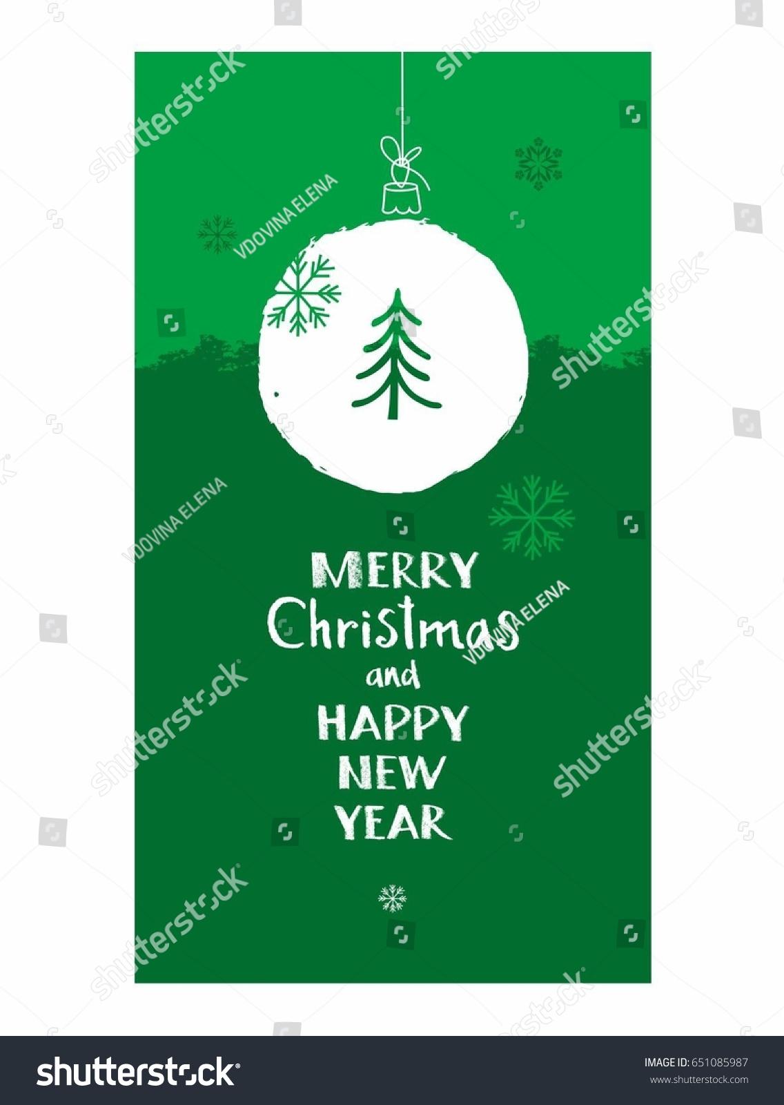 Merry Christmas Postcard Green English Font Stock Vector Royalty