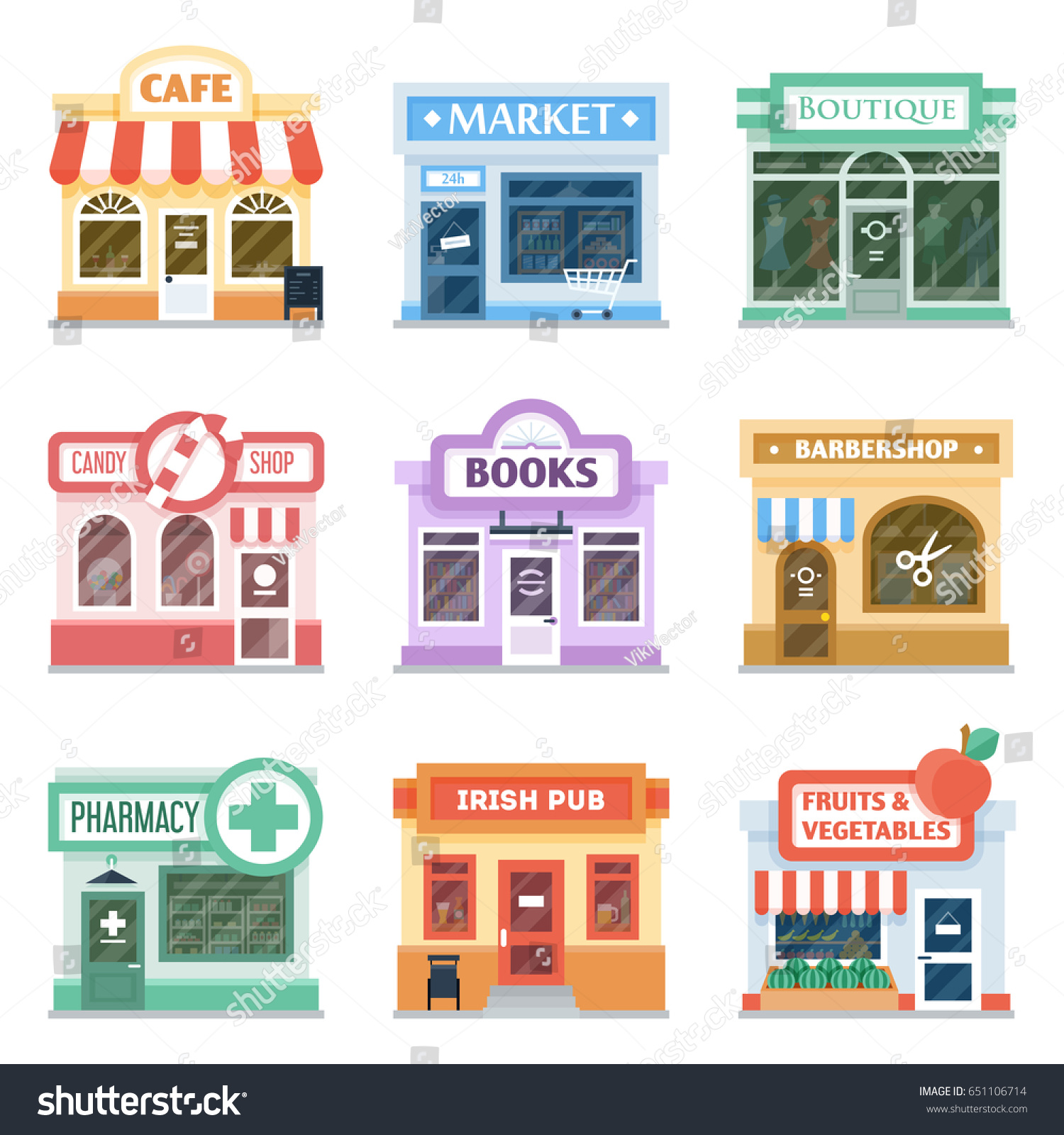 Shop front design ideas collection retail stock vector for Shop front design ideas