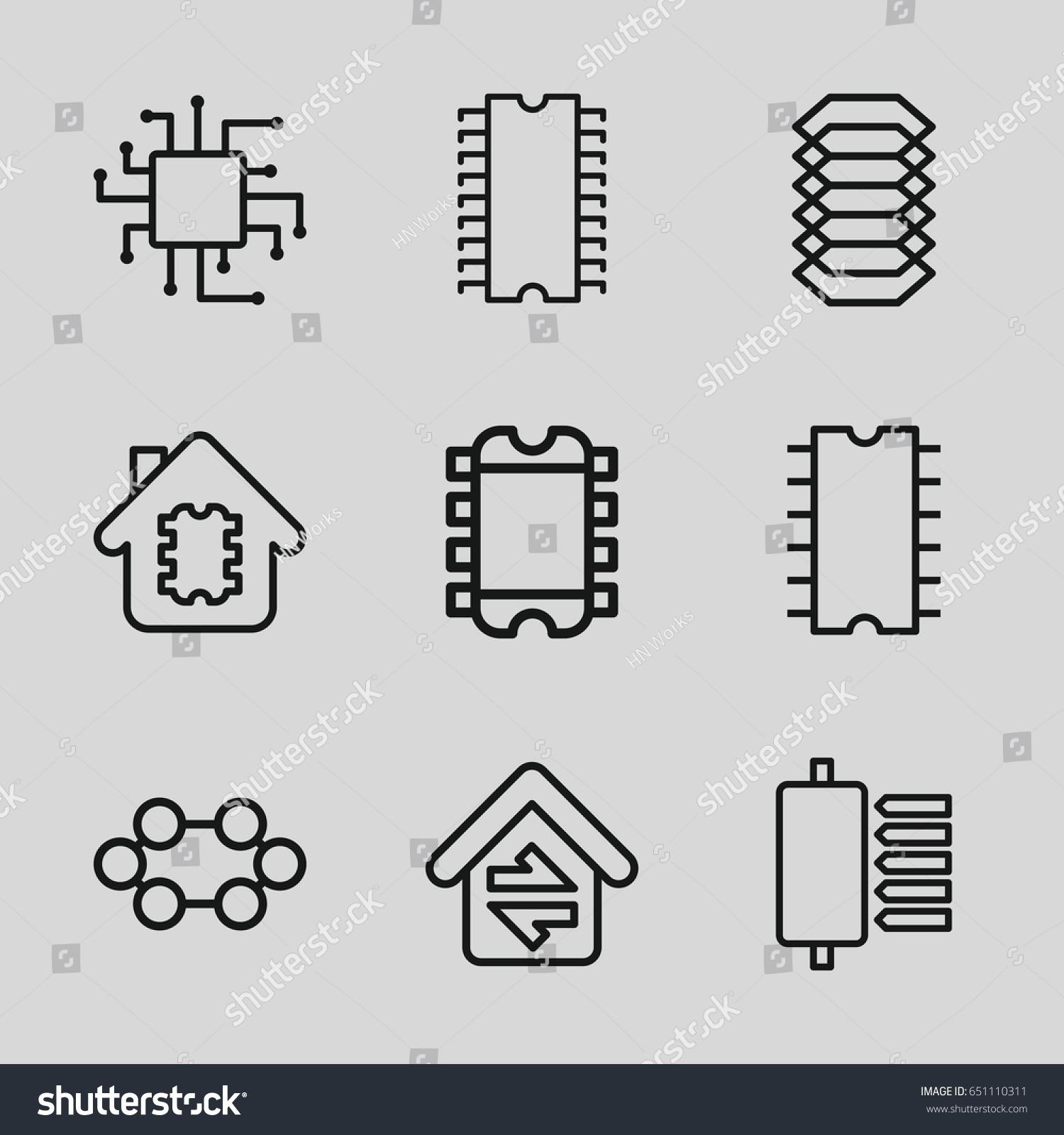 Circuit Icons Set Set 9 Circuit Stock Vector 651110311 - Shutterstock