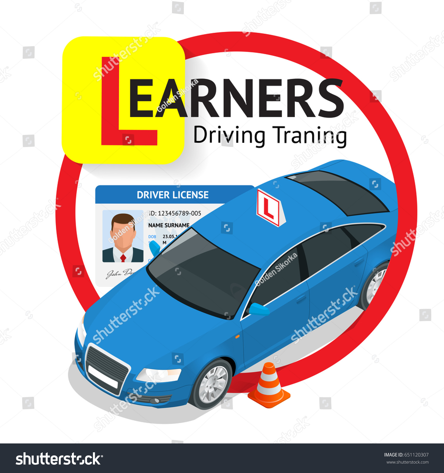 Design Concept Driving School Learning Drive Stock Vector 651120307 ...
