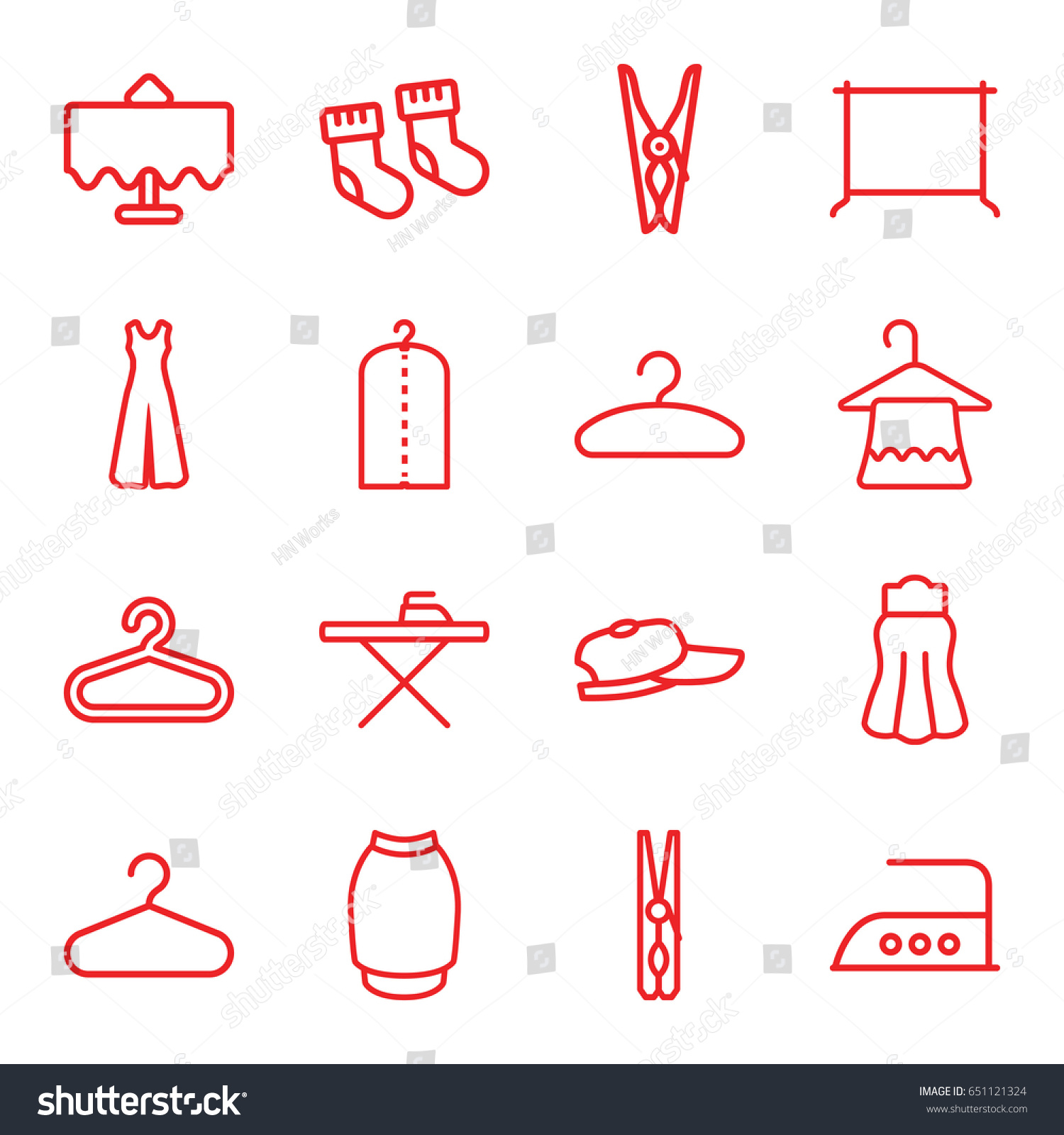 Cloth Icons Set Set 16 Cloth Stock Vector 651121324 Shutterstock