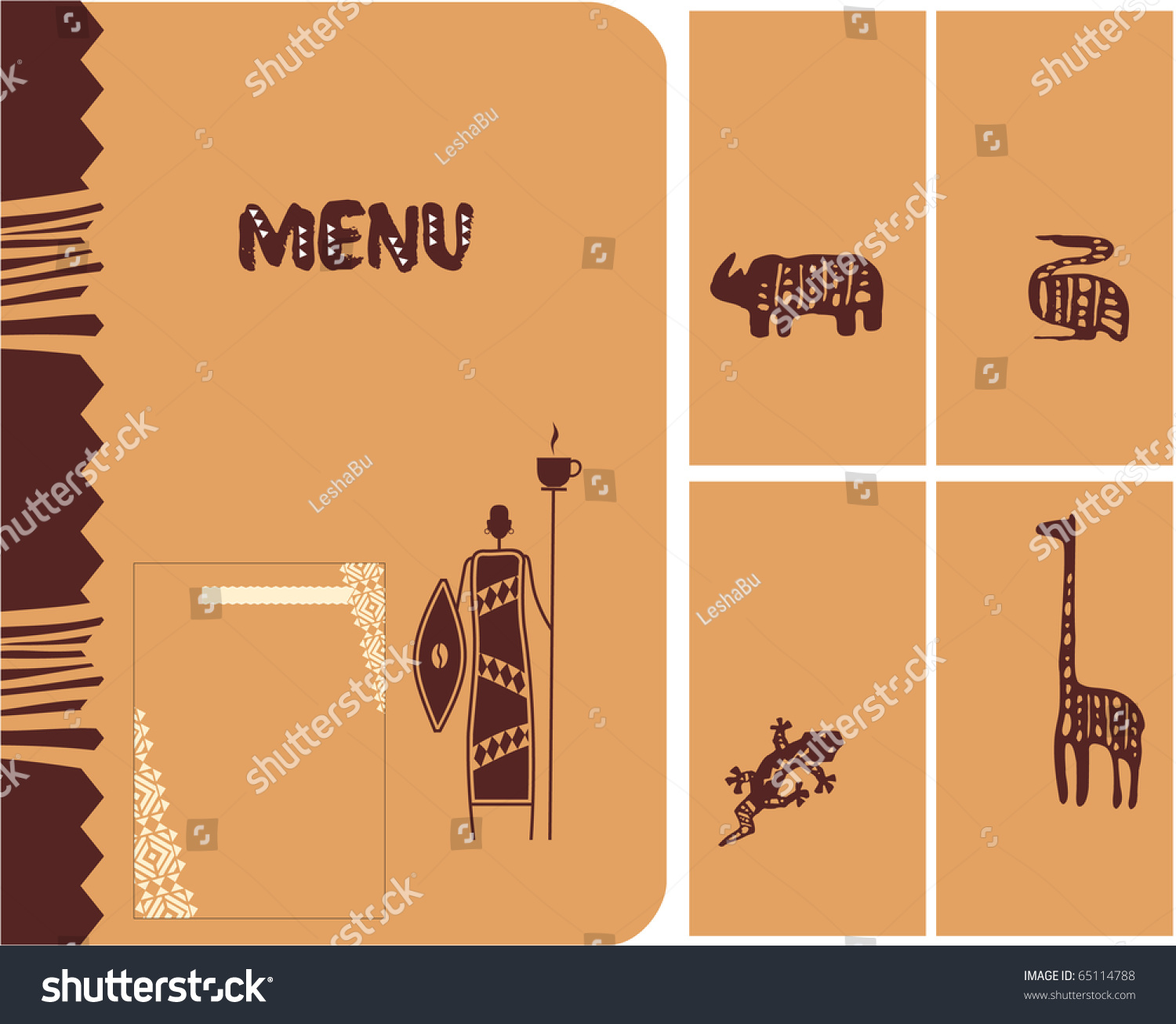 set african theme design menu cover stock vector  set of african theme design menu cover cards page frame layout