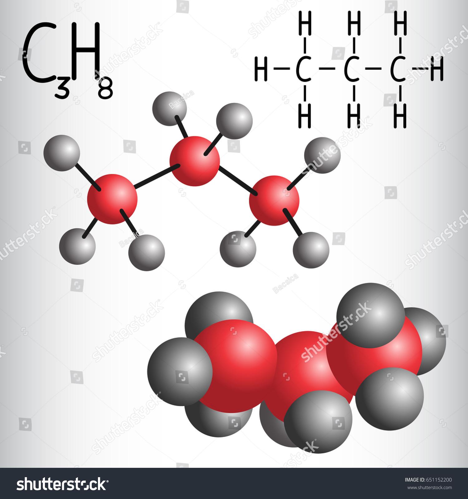 Chemical Formula Molecule Model Propane C 3 H 8 Stock Vector
