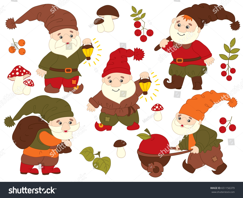 vector set cute cartoon gnomes working stock vector 651156379