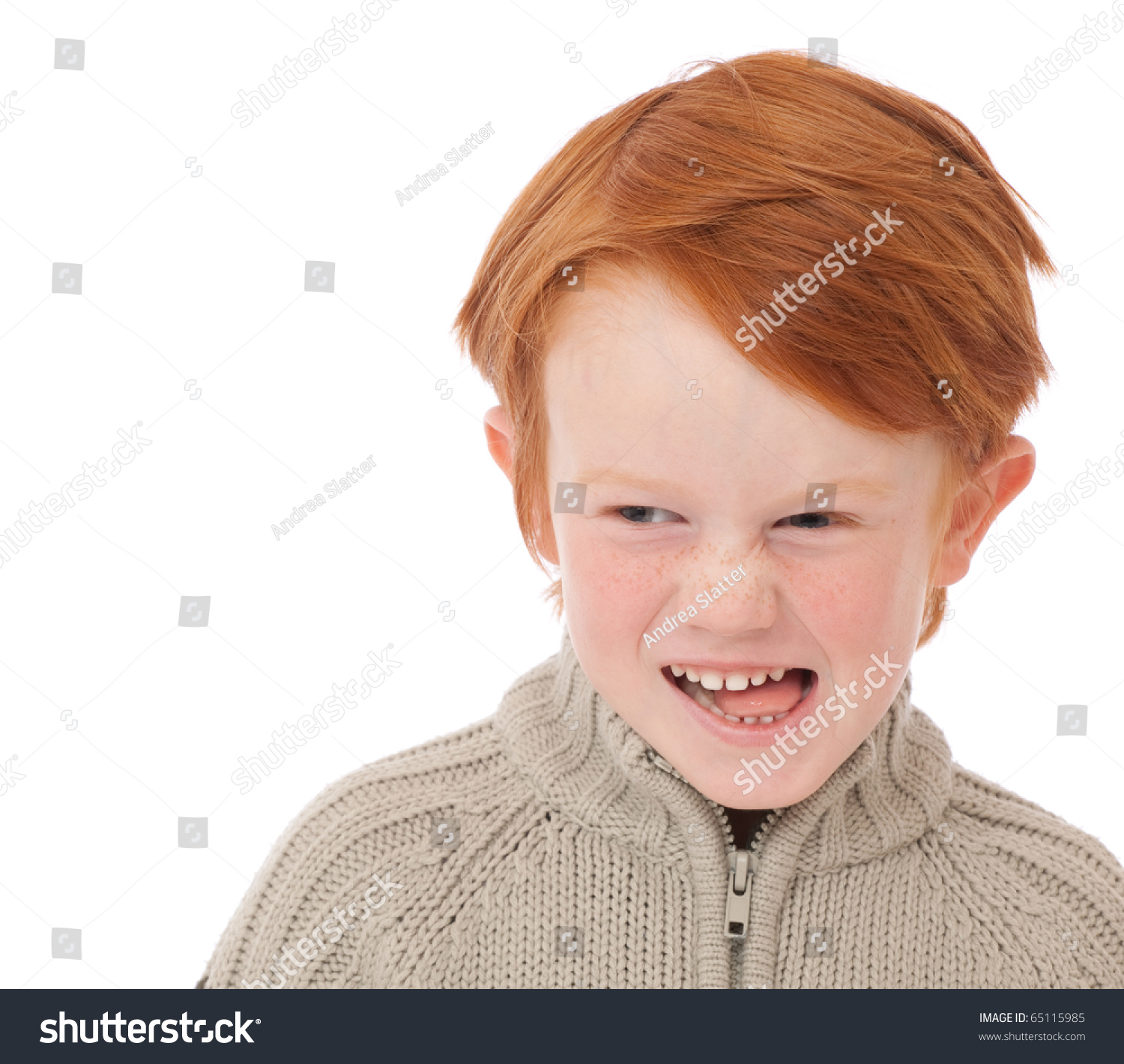 Ginger Red Hair Haired Boy Funny Stock Photo 65115985