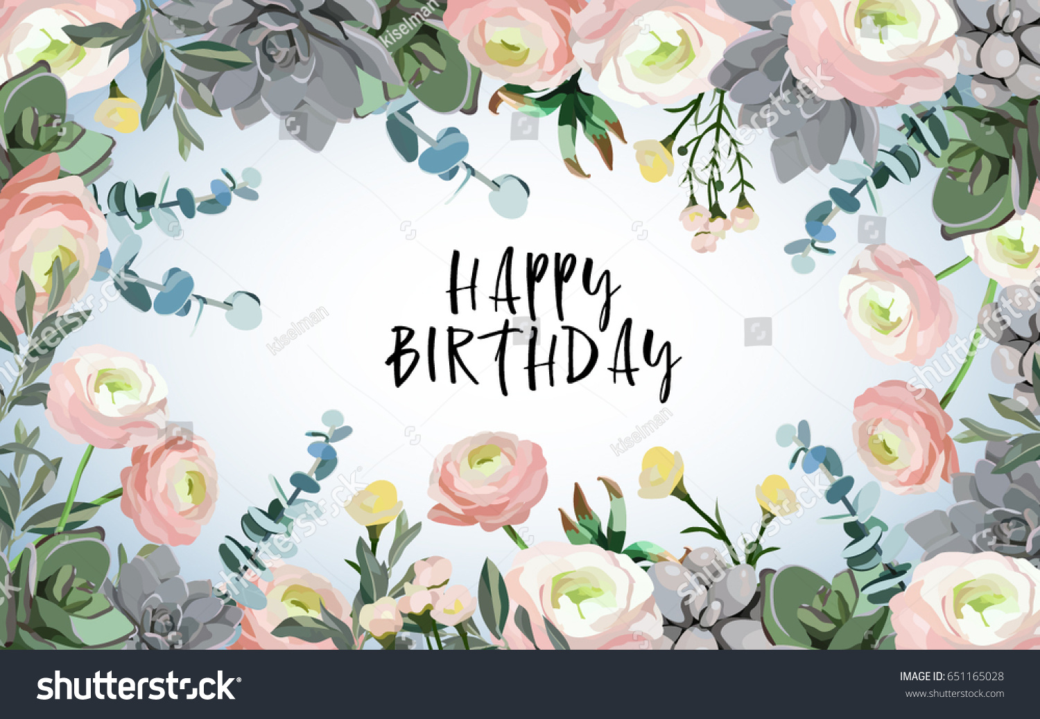 Happy Birthday Floral Background Flowers Ranunculus Stock Vector