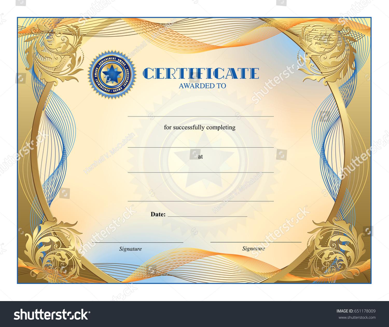 Certificate Blank Template Award Achievement Graduation Stock Vector