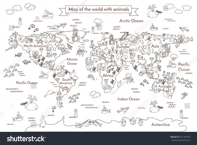 Coloring Book Map World Cartoon Globe Stock Illustration - Royalty ...