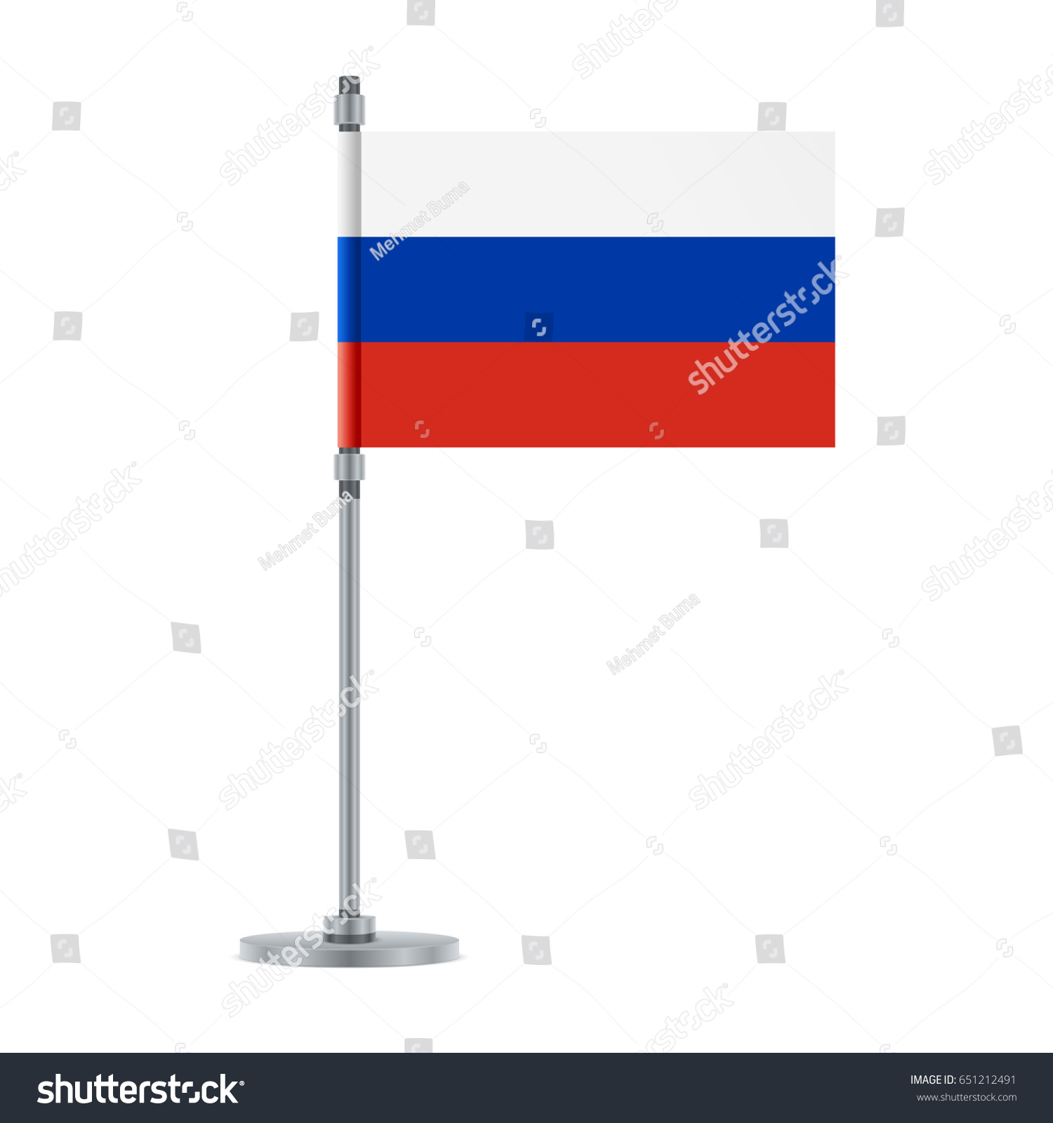 Flag Design Russian Flag On The Metallic Pole Isolated Template