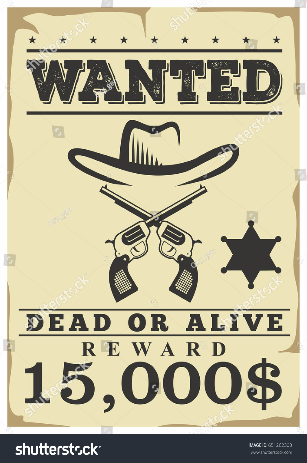 Wanted Dead Alive Retro Western Wild Stock Vector Royalty Free