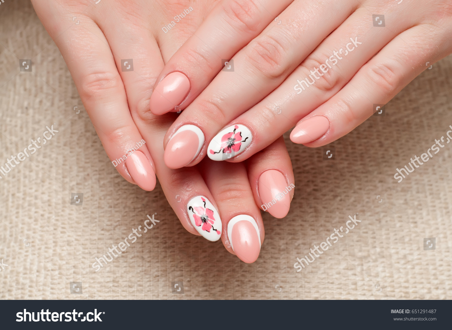 Pink Manicure Long Pointed Nails Manicure Stock Photo (Royalty Free ...