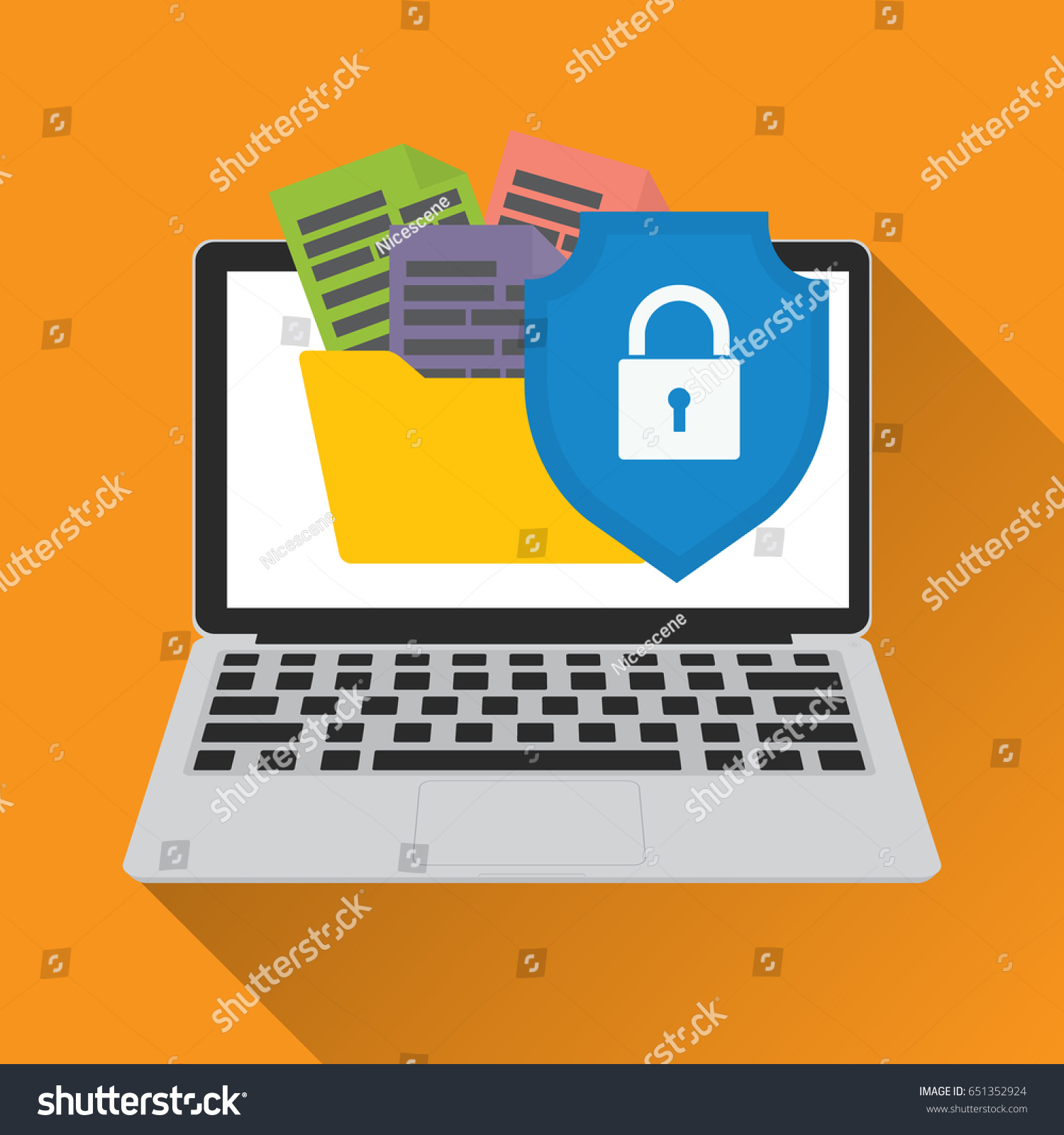 Data Secured Access Protection Vector Illustration Stock Security System Online And Cybercrime Concept
