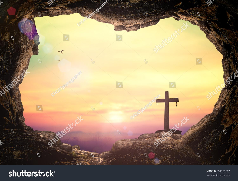 Empty tomb cross symbol jesus christ stock photo 651381517 empty tomb with cross symbol for jesus christ is risen buycottarizona Image collections