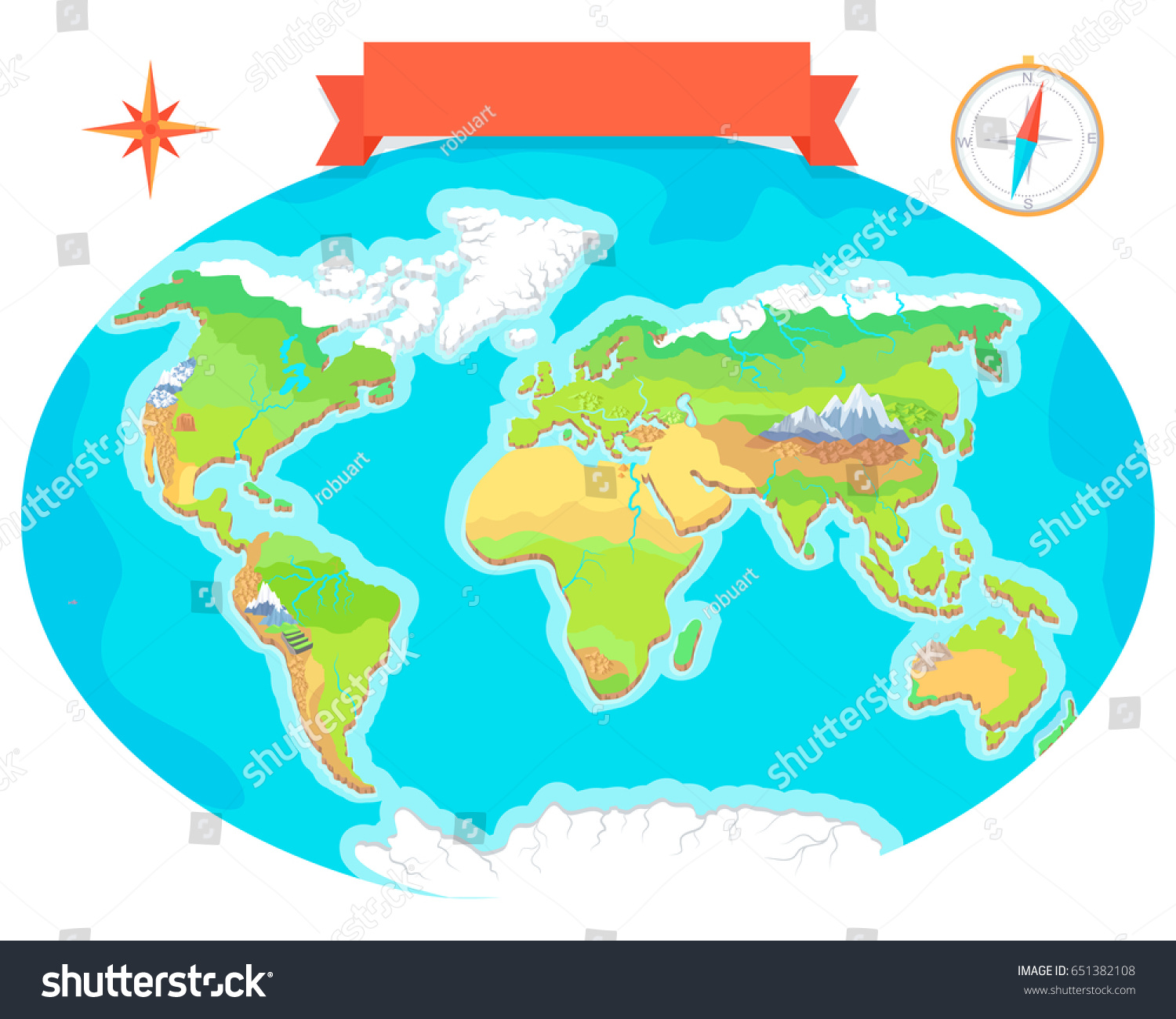 world geographical map names continents oceans stock illustration 651382108 shutterstock