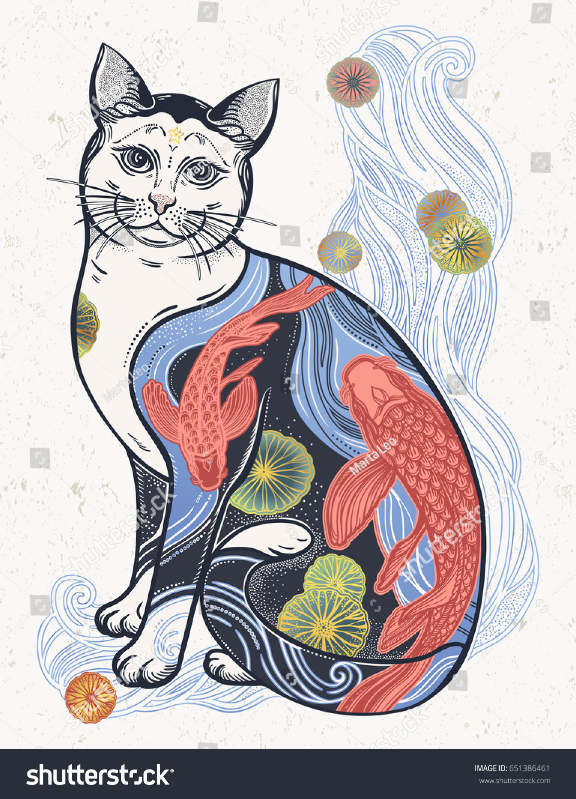 happy japanese folklore cat traditional flower stock vector