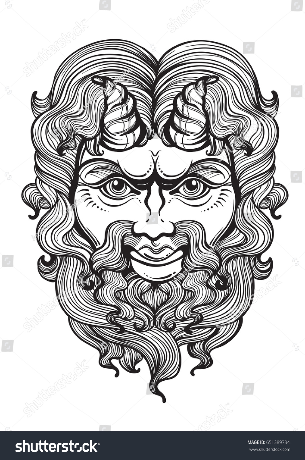 Pan god fertility wildlife ancient greek stock vector 651389734 pan the god of fertility and wildlife ancient greek mask high detailed buycottarizona