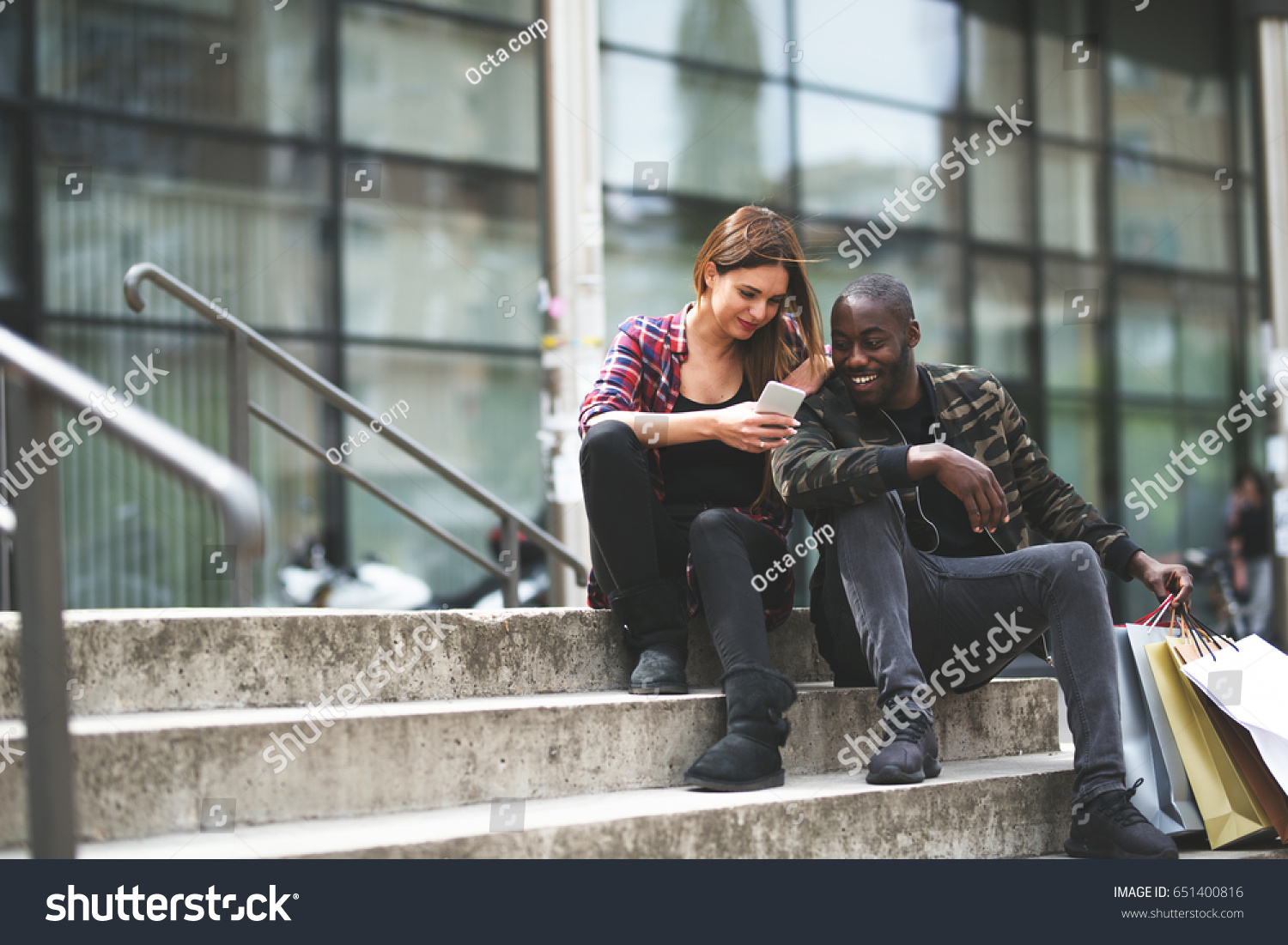 In nature s garb stairwell interracial