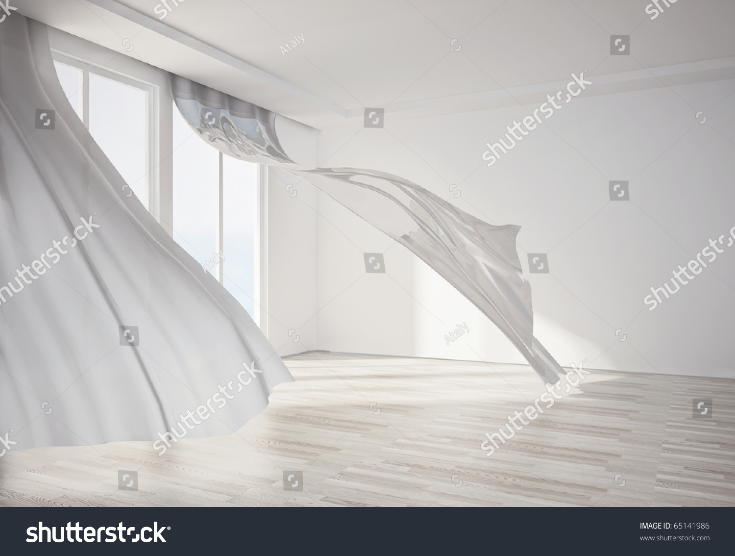 White Flowing Curtains Interior Room White Flowing Curtains 3D Stock Illustration